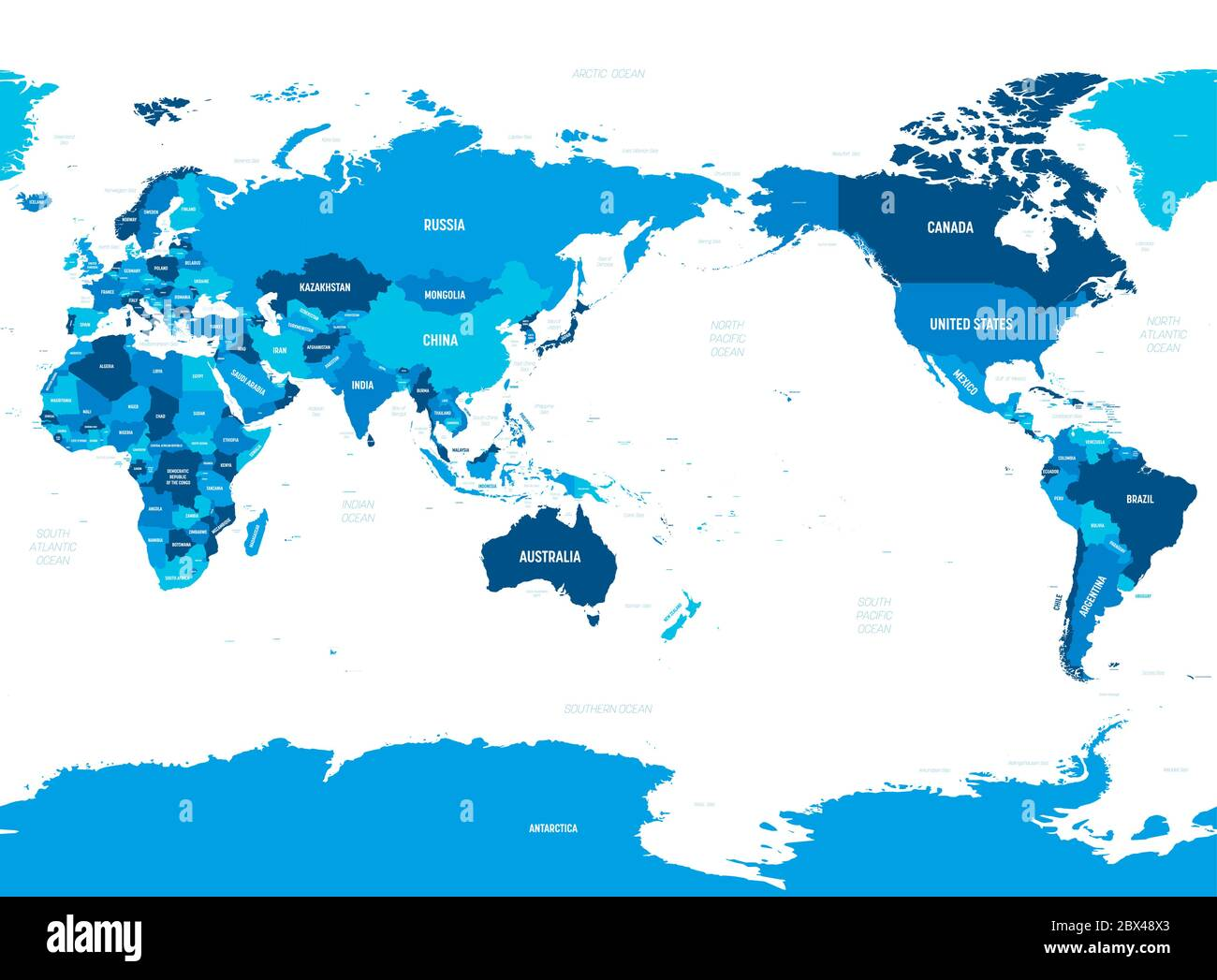 Picture of: World Map Asia Australia And Pacific Ocean Centered Green Hue Colored On Dark Background High Detailed Political Map Of World With Country Capital Ocean And Sea Names Labeling Stock Vector Image