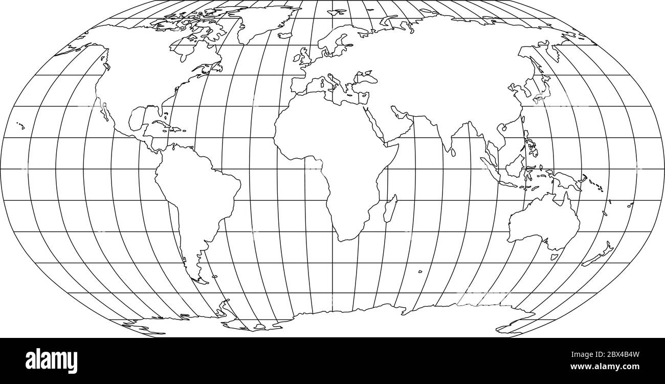 World Map Outline Latitude Longitude High Resolution Stock ...