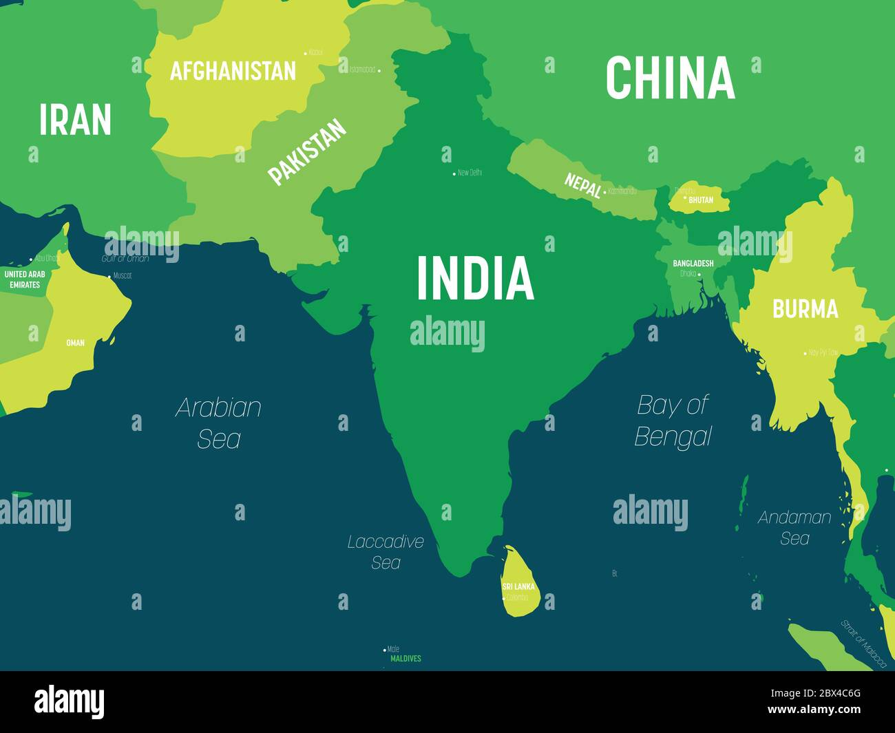 Picture of: South Asia Map Green Hue Colored On Dark Background High Detailed Political Map Of Southern Asian Region And Indian Subcontinent With Country Capital Ocean And Sea Names Labeling Stock Vector Image