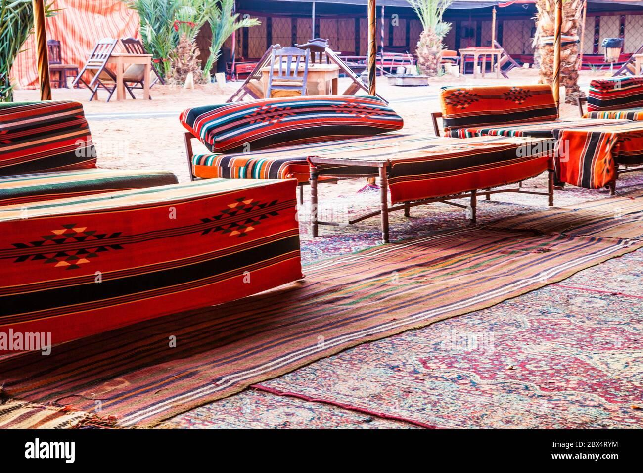 A tourist bedouin camp in the Jordanian desert at Wadi Rum near Petra. Stock Photo