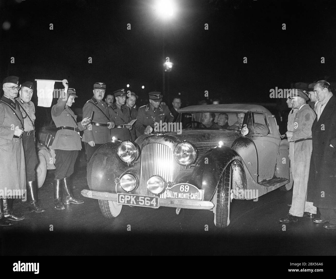 A Polish participant of the Monte Carlo Rally of 1939, which began in Tallinn, Estonia, will leave from the Autohotel control station on Kaiserdamm in Berlin. Stock Photo