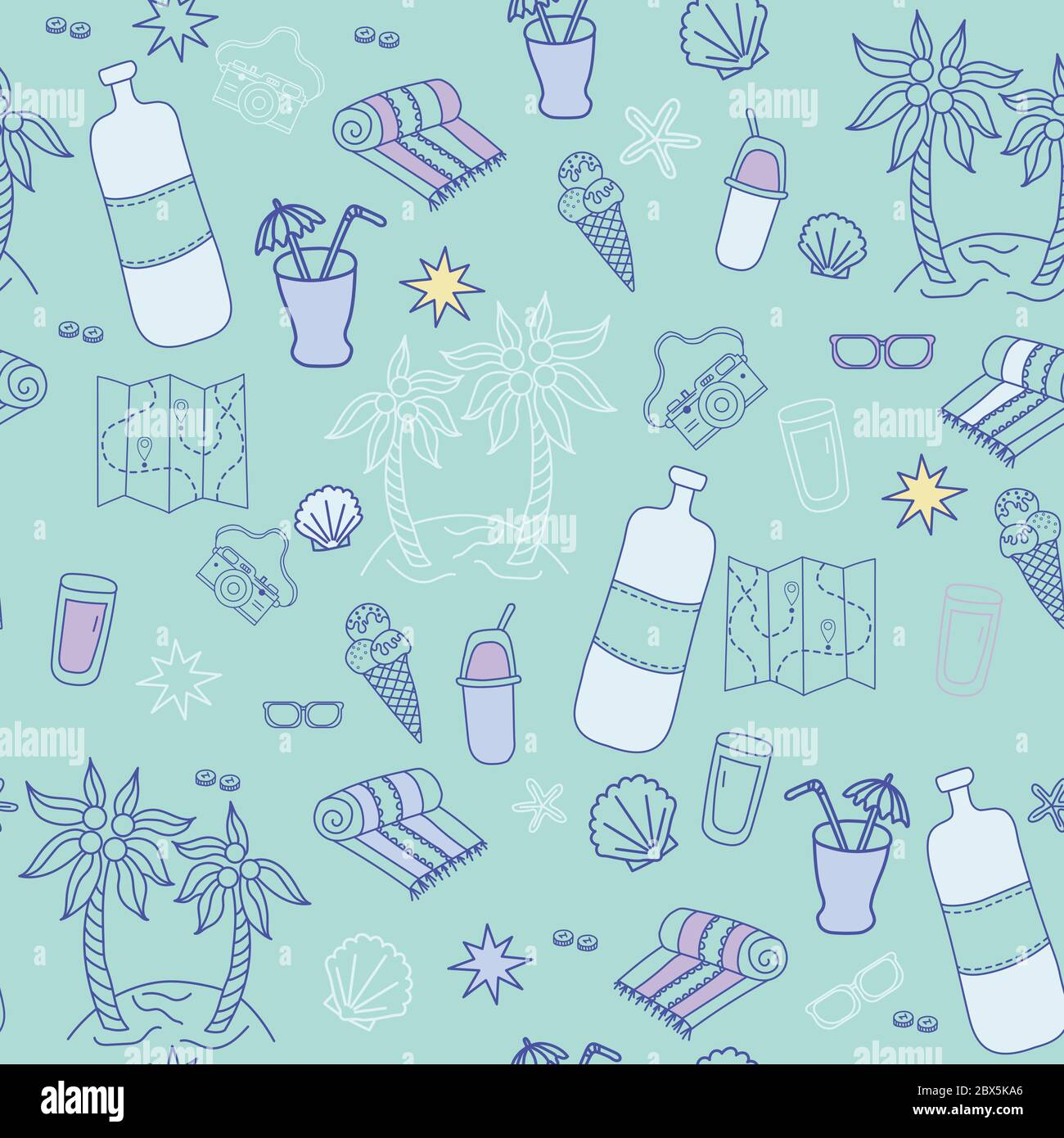 Seamless pattern. Blue background with marine themed travel. Cocktail and ice cream, glasses, an island with palm trees, a beach towel, a scoop and a Stock Vector