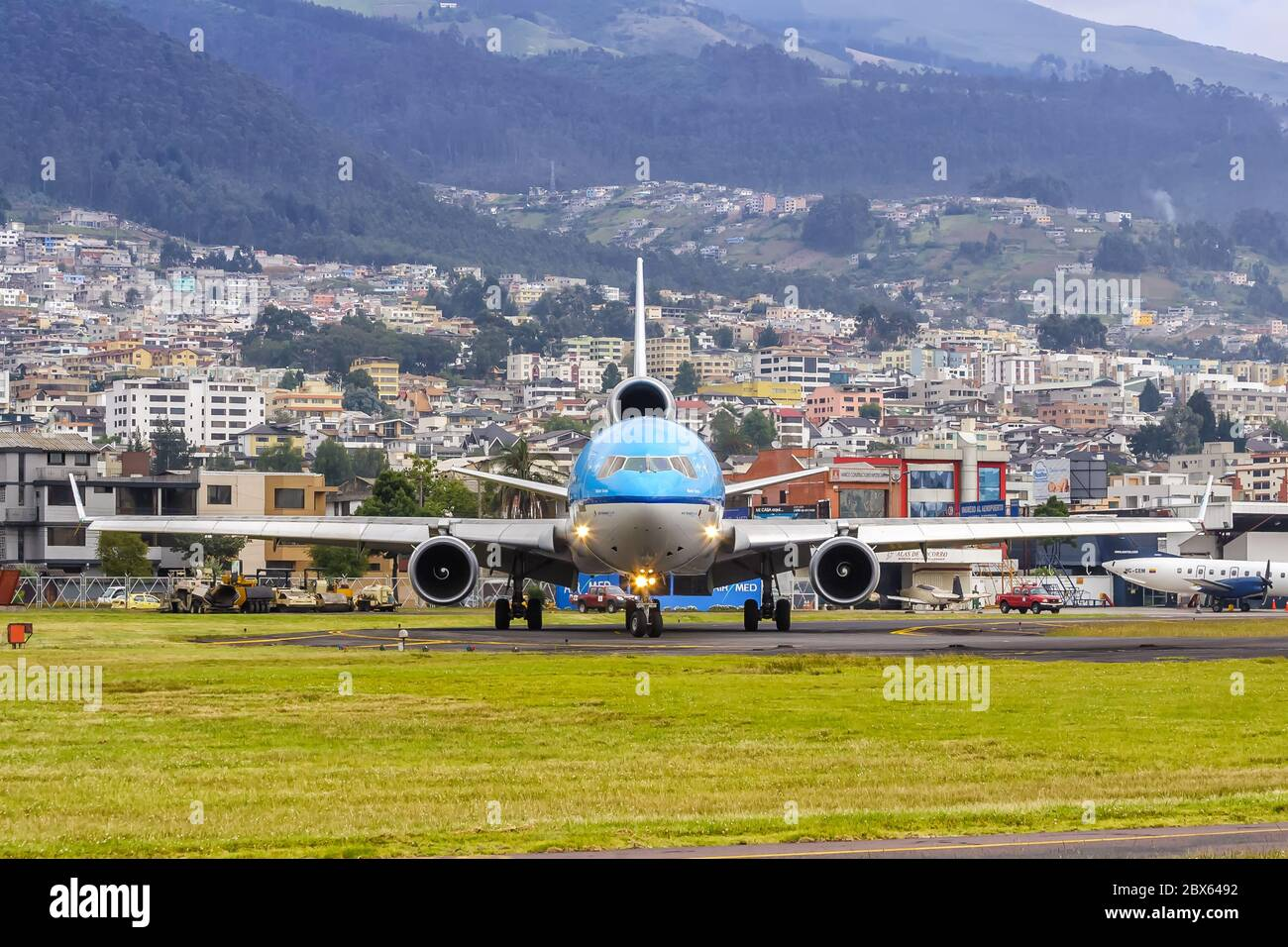 Quito, Ecuador June 16, 2011: KLM Royal Dutch Airlines McDonnell Douglas MD-11 airplane at Quito airport UIO in Ecuador. Stock Photo
