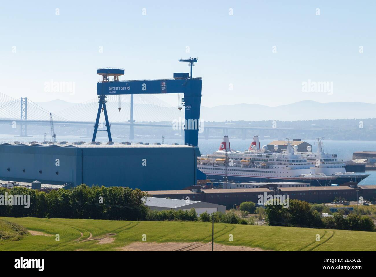 Looking over to Rosyth dockyard and Forth Bridges, Fife, Scotland Stock Photo