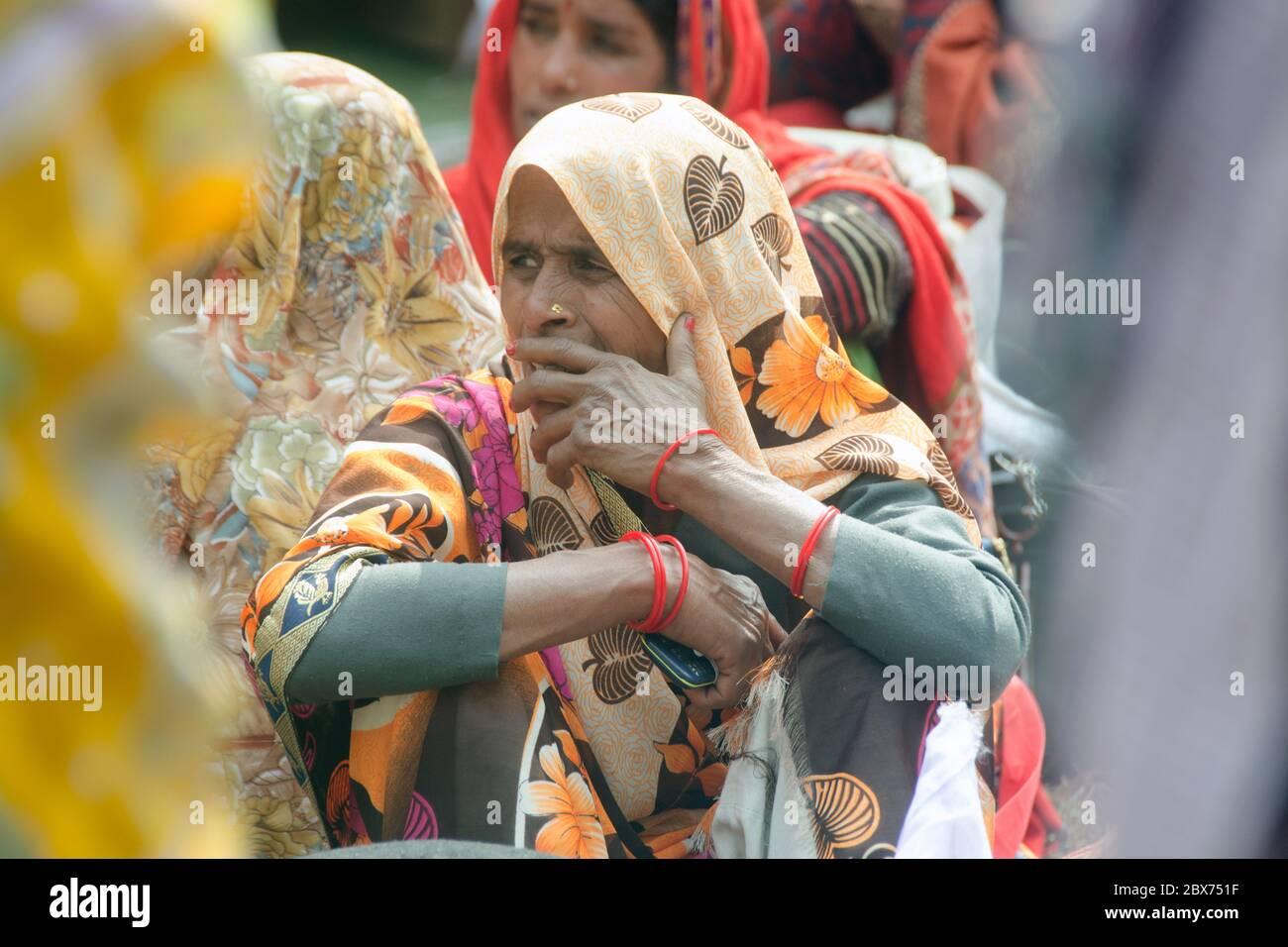 kolkata west bengal india on january 11th 2020: portrait of a pilgrim at gangasagar transit camp kolkata west bengal india Stock Photo
