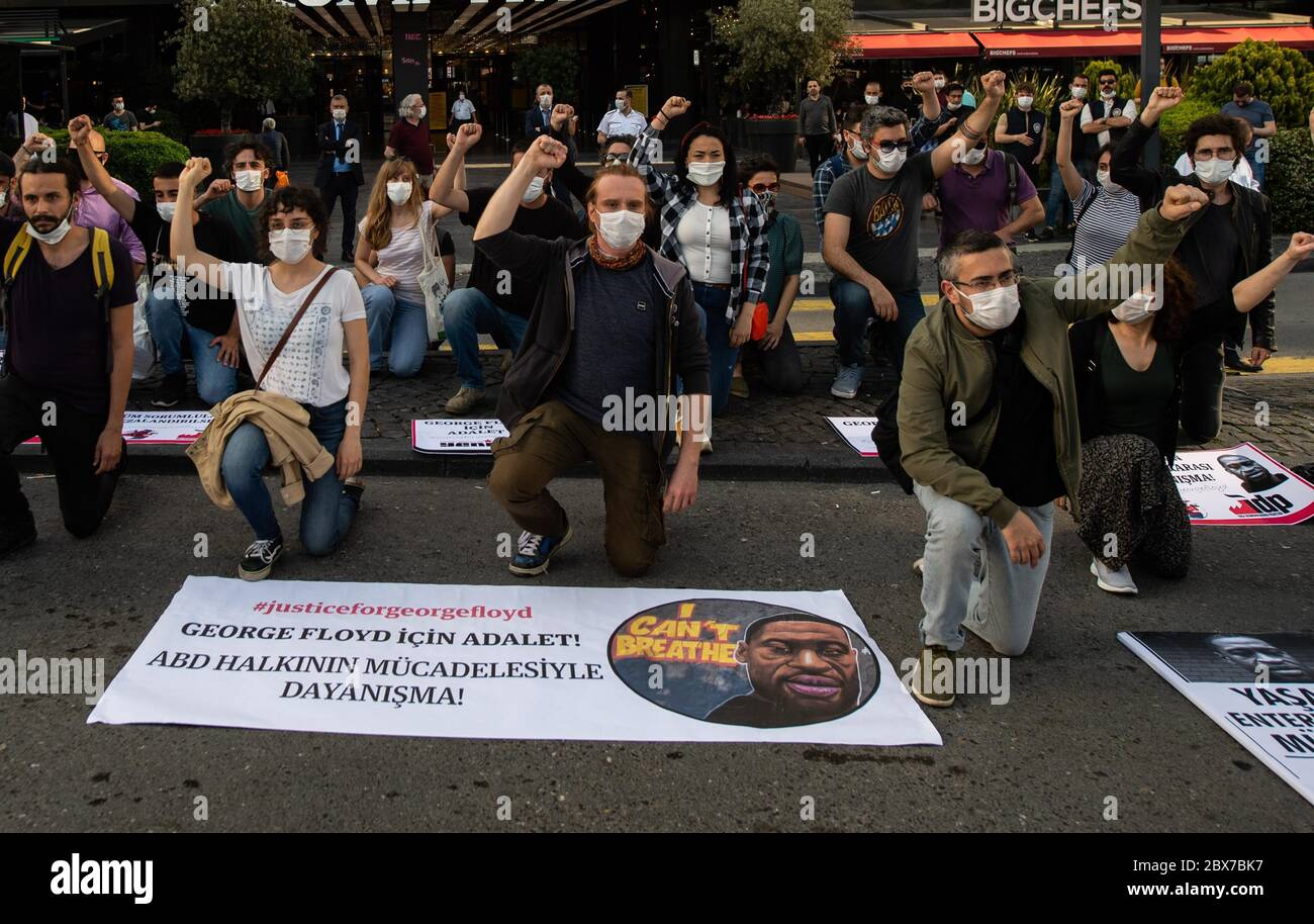 Istanbul Turkey 5th June 2020 People Take Part In A Protest Against The Killing Of George