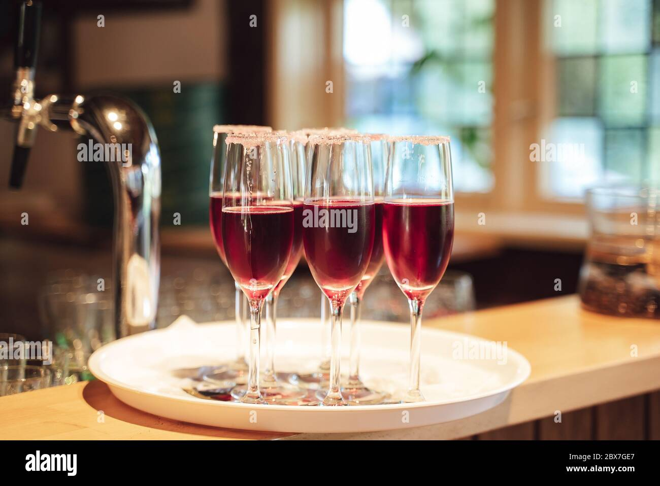 Several Glasses Of Red Drink Standing On Tray At Bar Celebration Birthday Party Wedding Concept Stock Photo Alamy