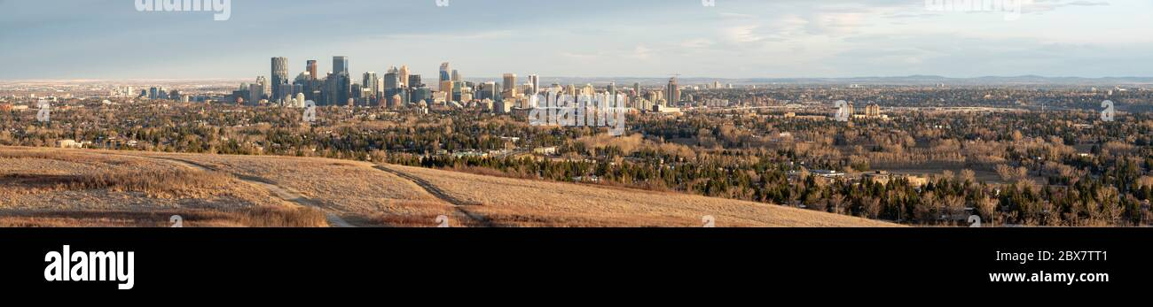 Calgary, Alberta, Canada.  Panoramic view of downtown and central Calgary, looking southeast from Nose Hill Park in springtime. Stock Photo