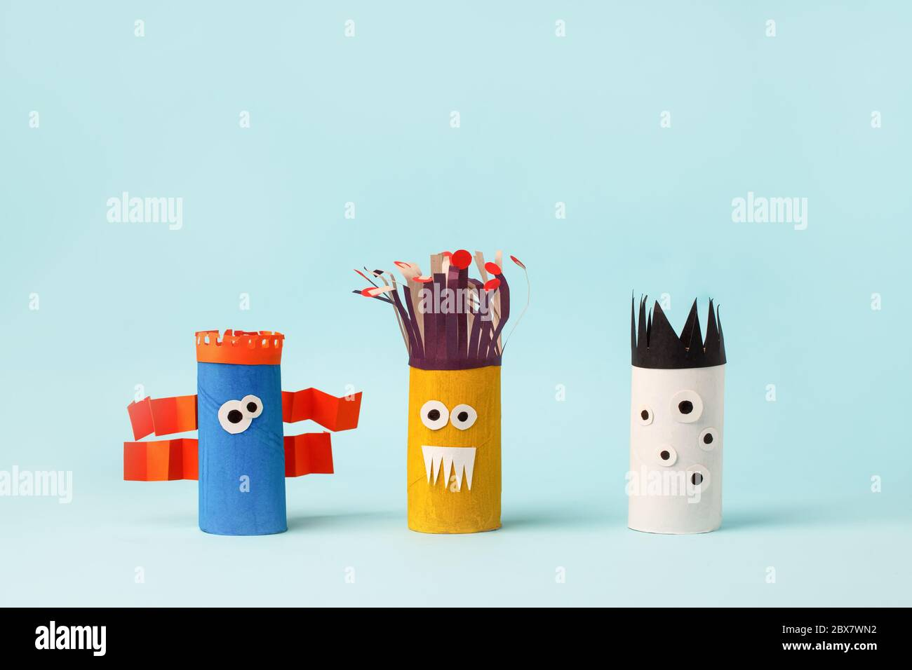 Kids Art Therapy Coronavirus Pandemic Halloween Crafts Paper Monsters On Blue Paper Background With Copy Space For Text Concept Handcraft Diy Cr Stock Photo Alamy