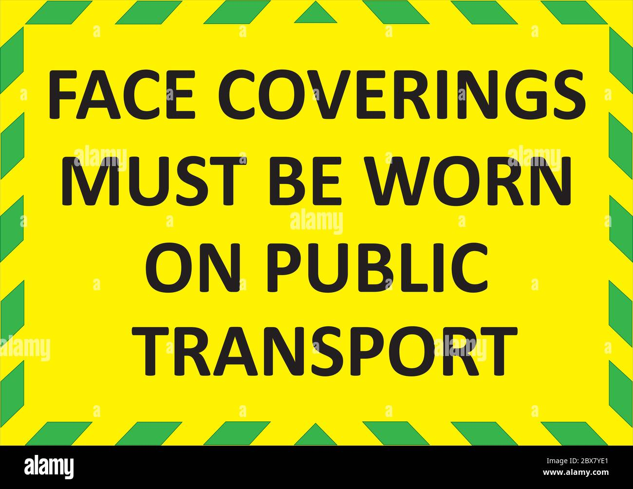 FACE COVERINGS MUST BE WORN ON PUBLIC TRANSPORT warning sign. Green quarantine sign that help to battle against Covid-19 in the United Kingdom. Vector Stock Vector
