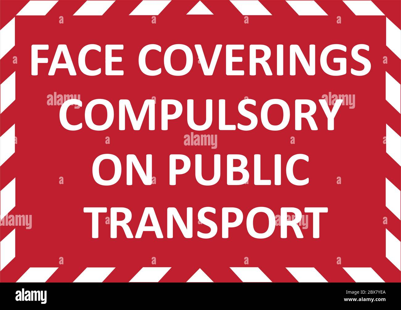 FACE COVERINGS COMPULSORY ON PUBLIC TRANSPORT warning sign. Red quarantine sign that help to battle against Covid-19 in the United Kingdom. Vector Stock Vector