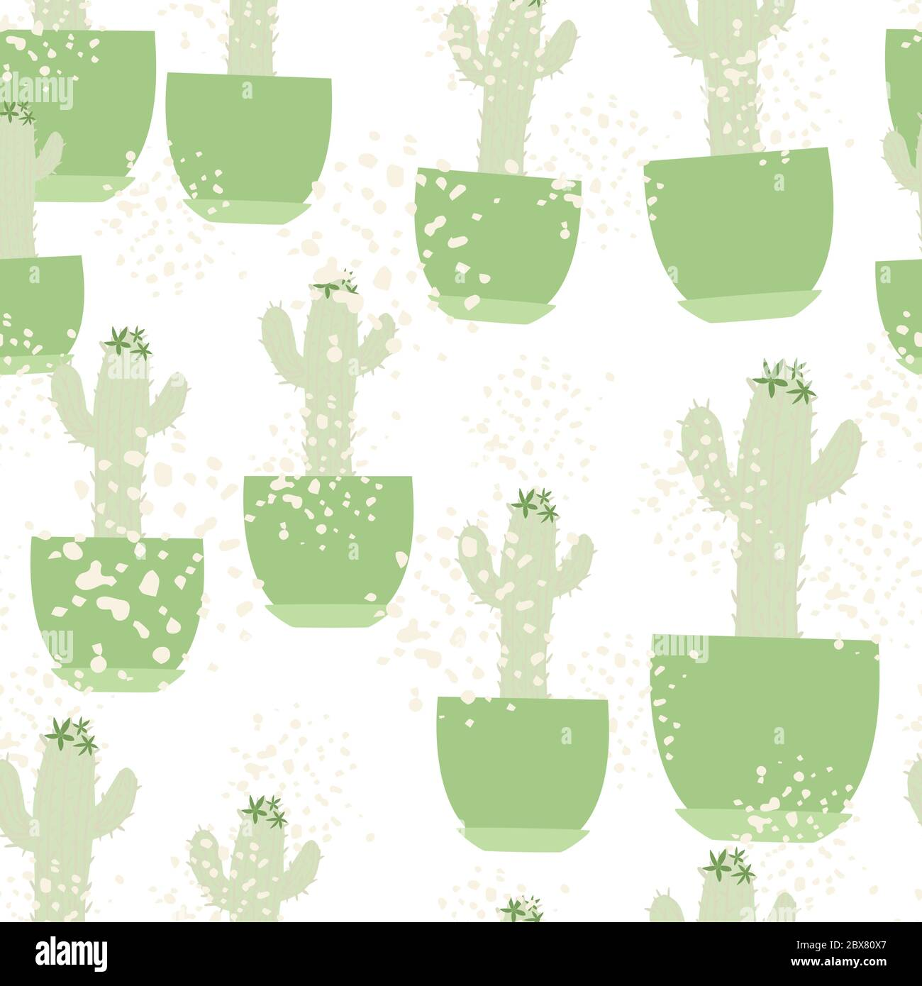 Cute Cactus In Pot Seamless Pattern On White Background Doodle Botanical Exotic Wallpaper Trendy Design For Fabric Textile Print Wrapping Paper K Stock Vector Image Art Alamy