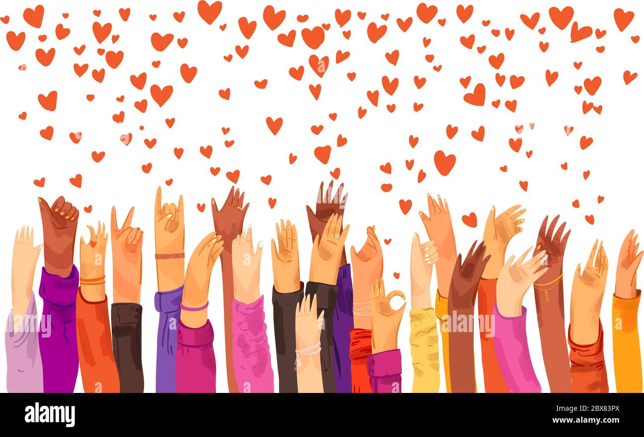 Human hands rised up and sending love, appreciation, connection and support. Dating app, searching for love and romantic event or date, sending love Stock Vector