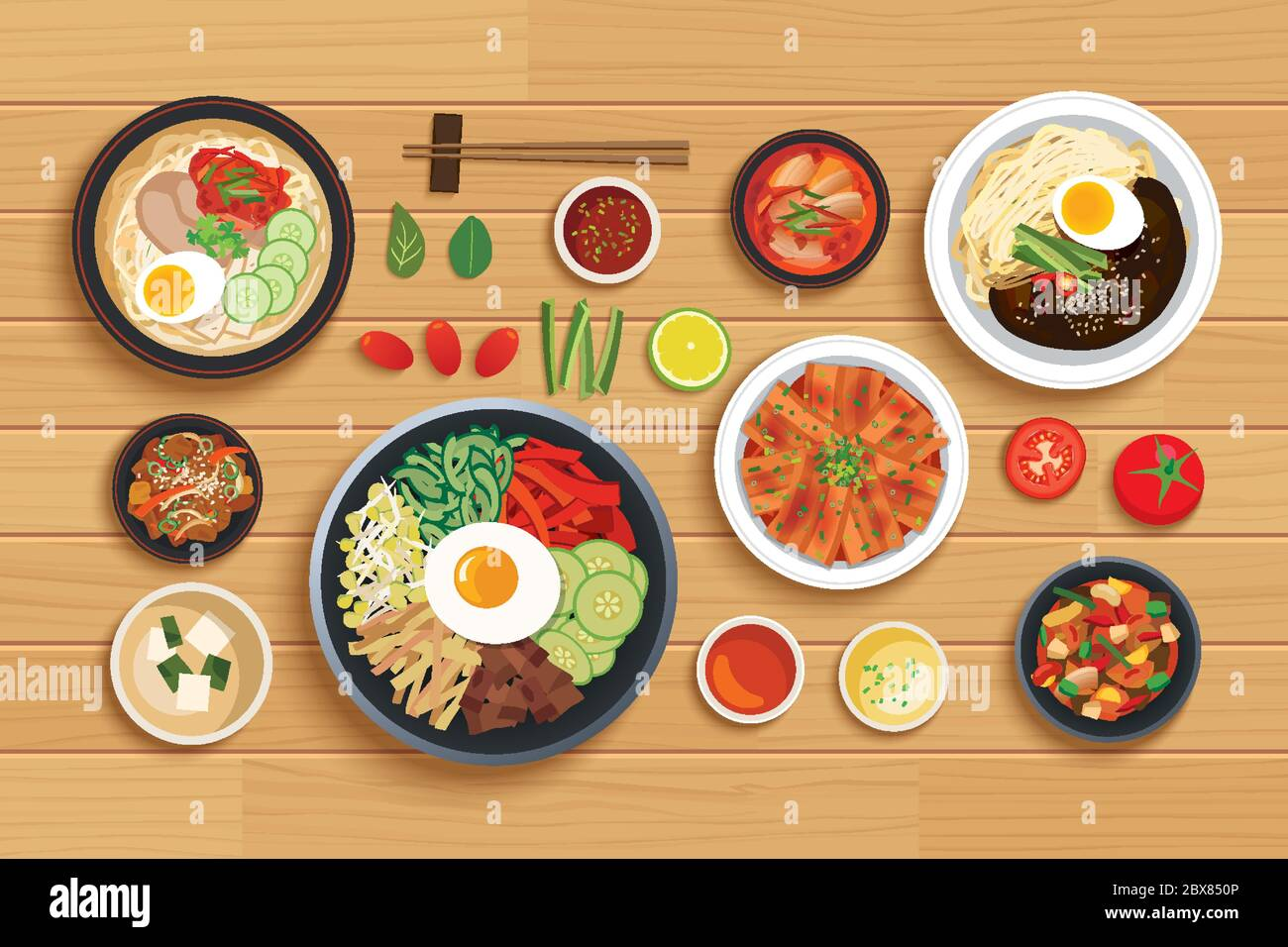 korean food set on top view wooden table background Stock Vector ...