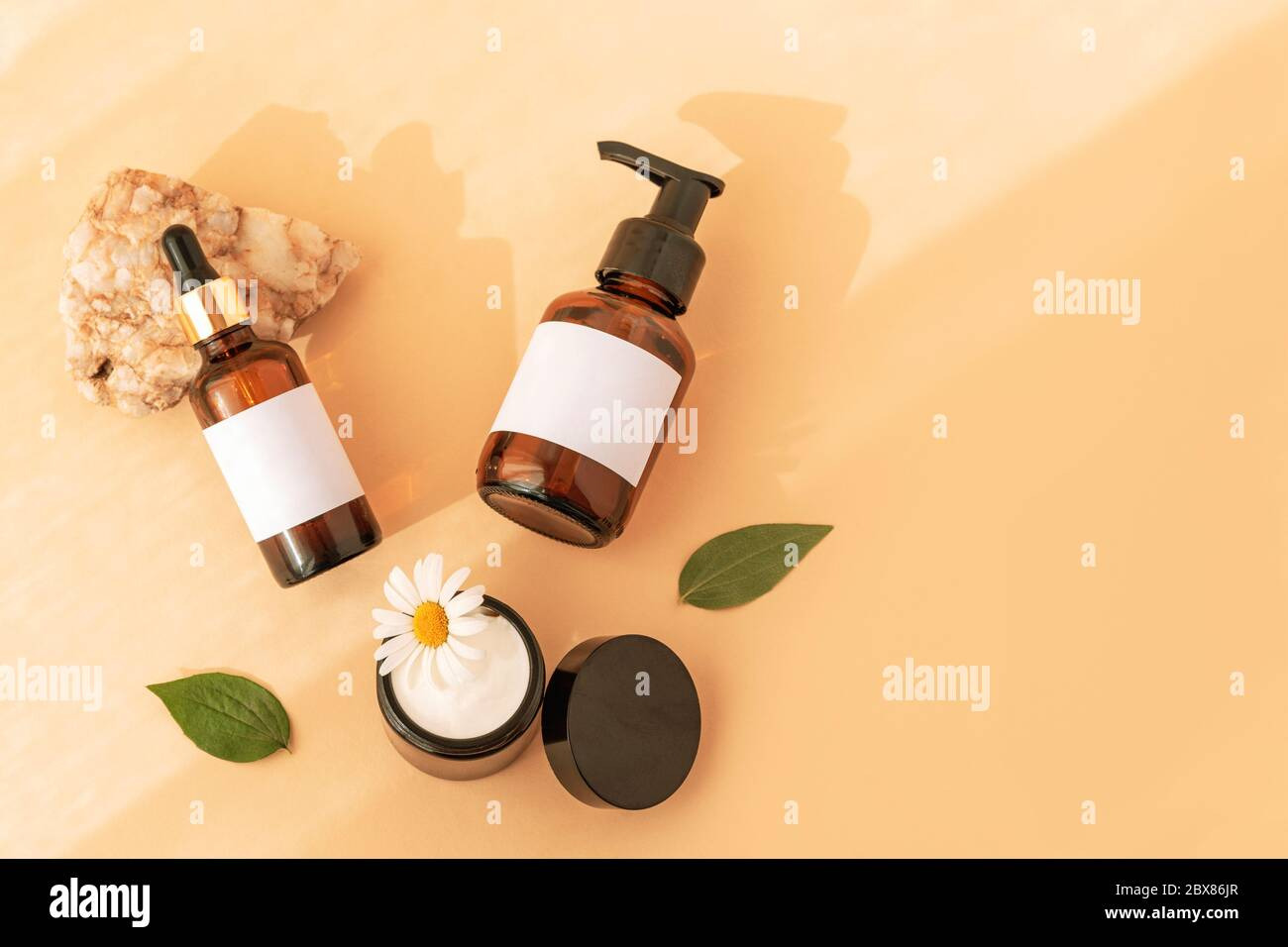 Beauty Products Wash Gel Cream Jar Serum Unbranded Bank Packages On Natural Stone Yellow Background Top View Natural Cosmetics And Skin Care Con Stock Photo Alamy