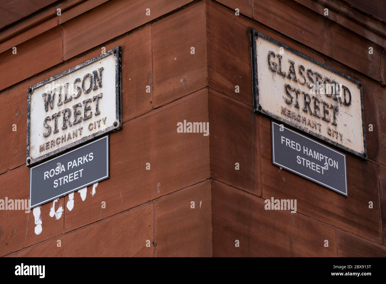Glasgow, Scotland, UK. 6 June 2020.  Street names in Glasgow City centre with historic links to the slave trade have been targeted and renamed by new ones bearing the names of black activists or alleged victims of racism.  Iain Masterton/Alamy Live News Stock Photo