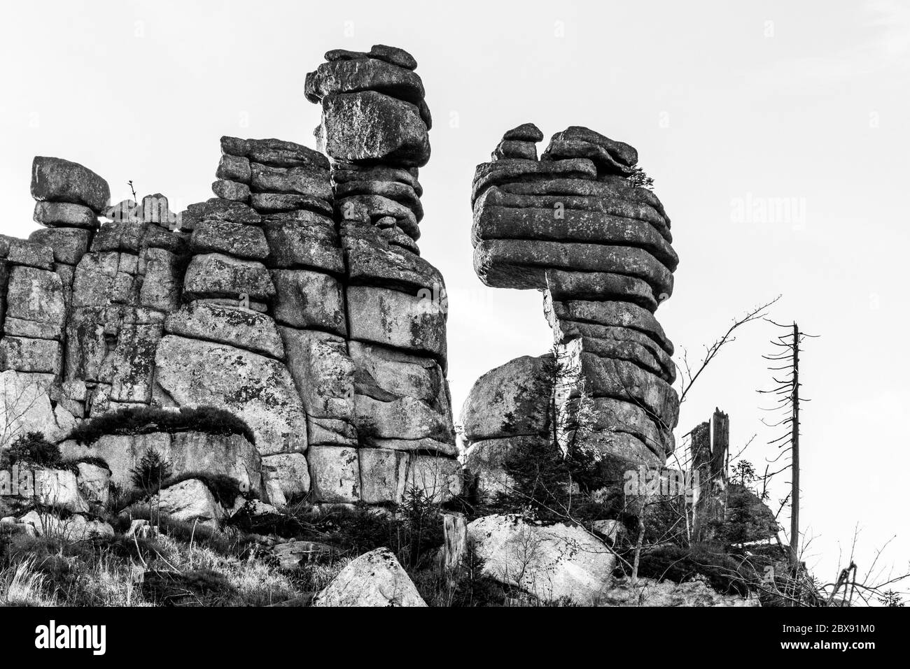 Unique eroded granite rock formation on the top of Tristolicnik, Dreisesselberg. Sumava National Park and Bavarian Forest, Czech republic and Germany. Black and white image. Stock Photo