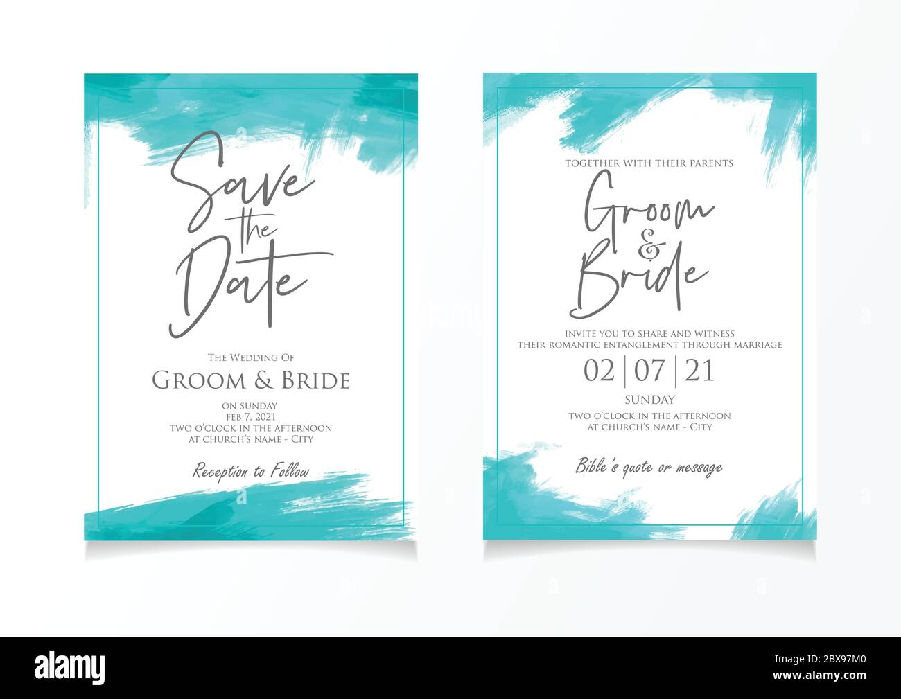 Wedding invitation card template with paint brush style background Pertaining To Church Invite Cards Template