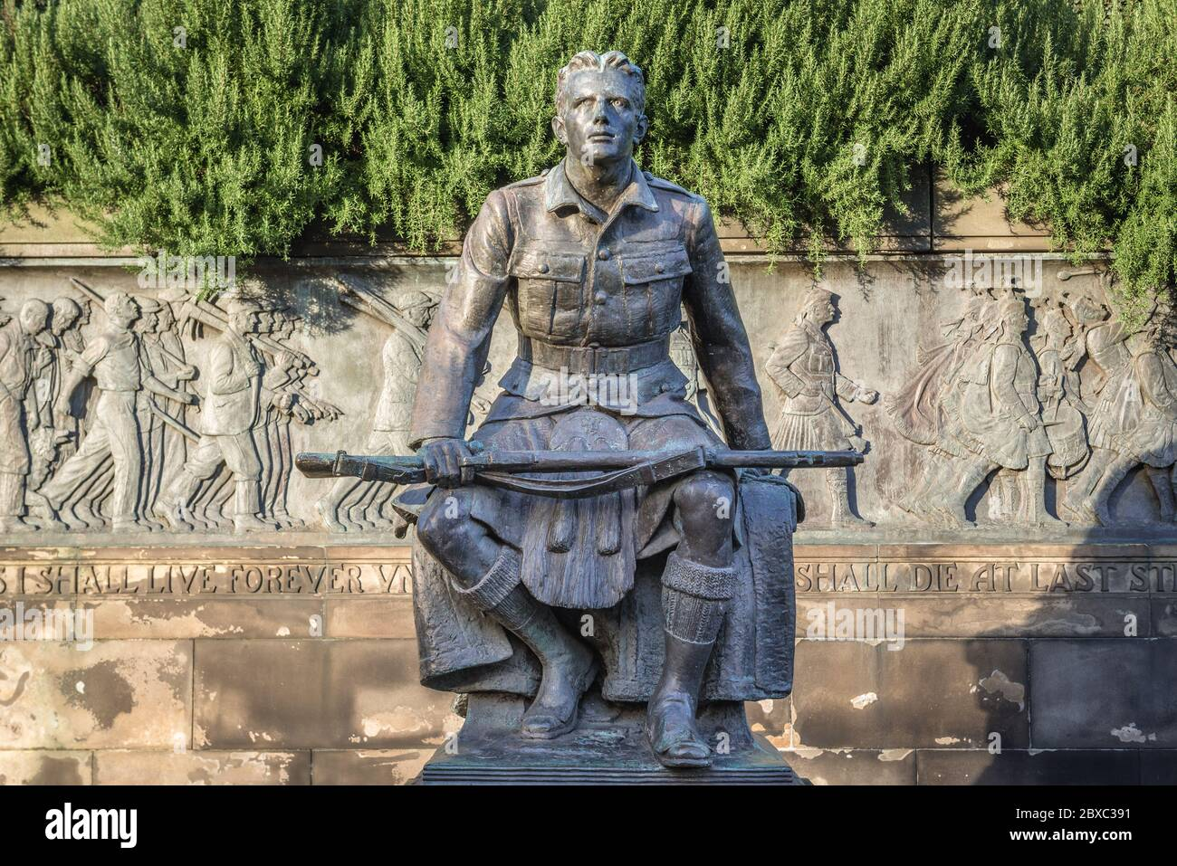 Scottish American Memorial in Princes Street Gardens public park in Edinburgh, the capital of Scotland, part of United Kingdom Stock Photo