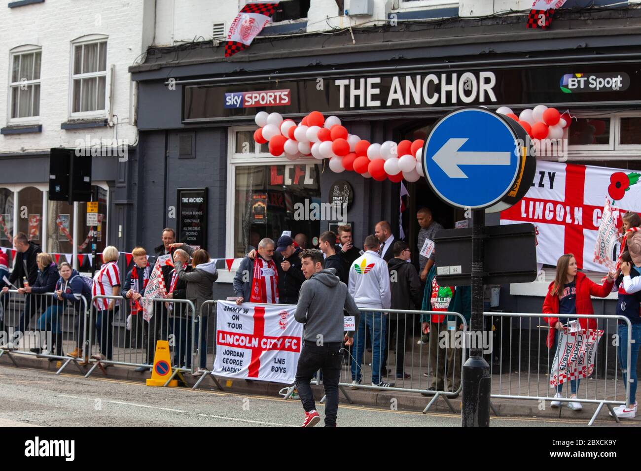 2018/19 Lincoln City Bus tour, promotion bus tour 2019, Imps A One thousands lined the streets, celebration, Imp-ressive Lincoln City., Lincoln FC. Stock Photo