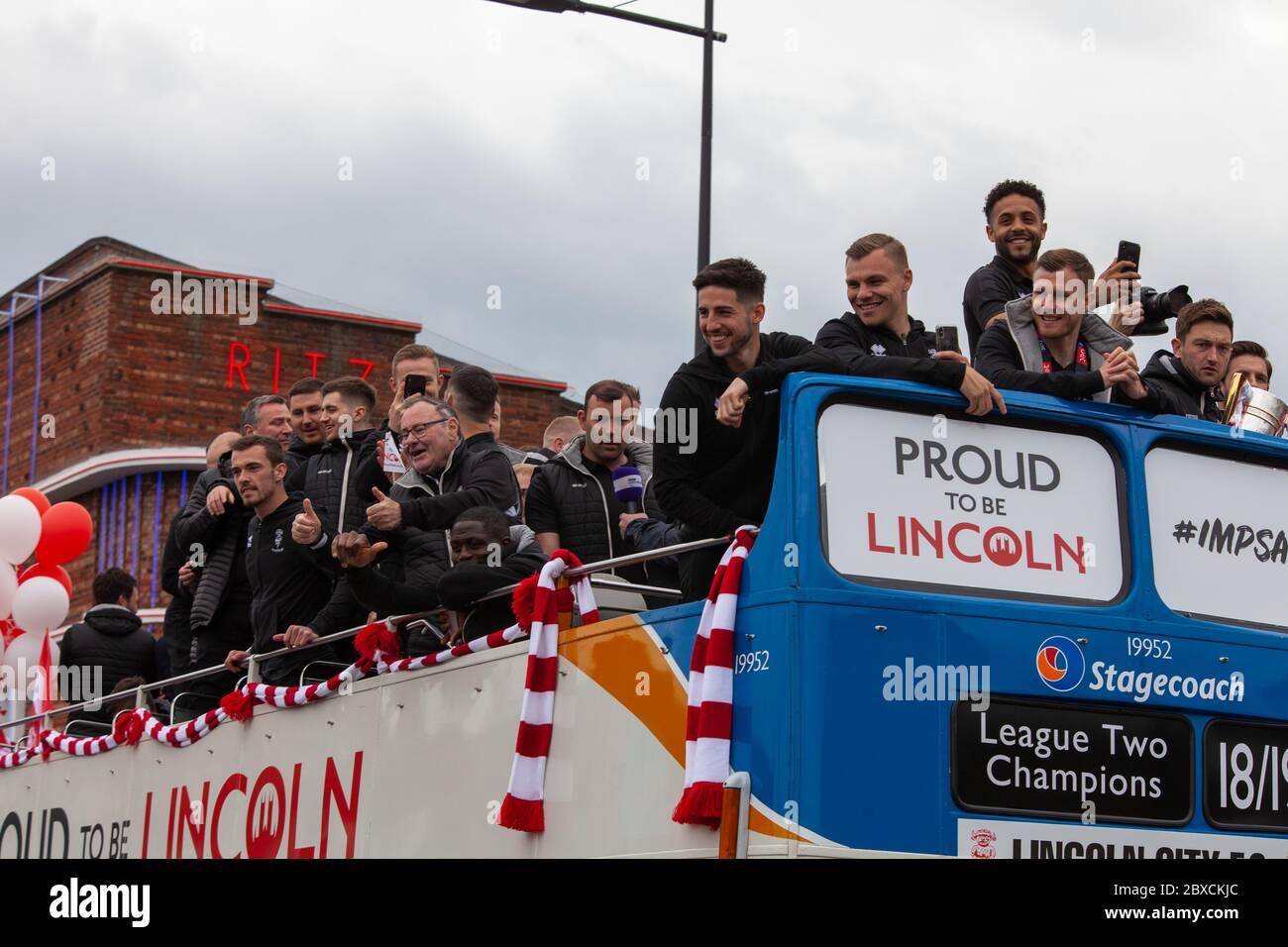 2018/19 Lincoln City Bus tour, premotion bus tour 2019, Imps A One thousands lined the streets, celebration, Imp-ressive Lincoln City., Lincoln FC. Stock Photo