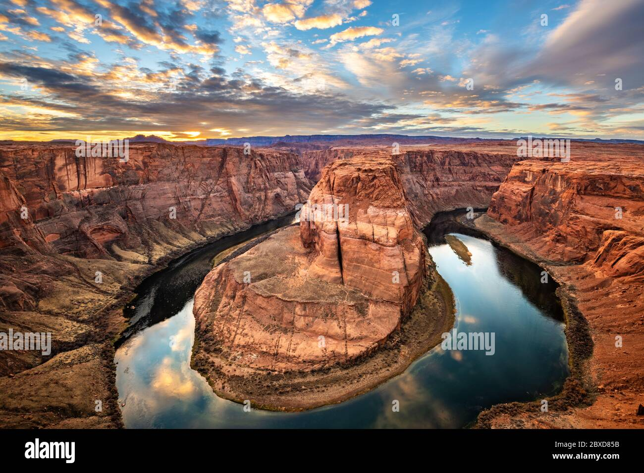 Horseshoe Bend is very scenic part of the Colorado River located near the town of Page, Arizona. Stock Photo