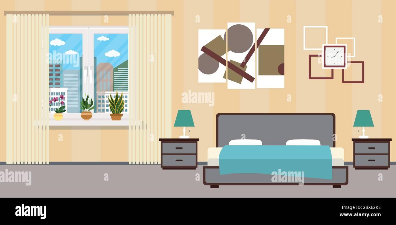 Cartoon Hotel Room Or Bedroom Interior Flat Design Home Furniture Flat Vector Illustration Stock Vector Image Art Alamy
