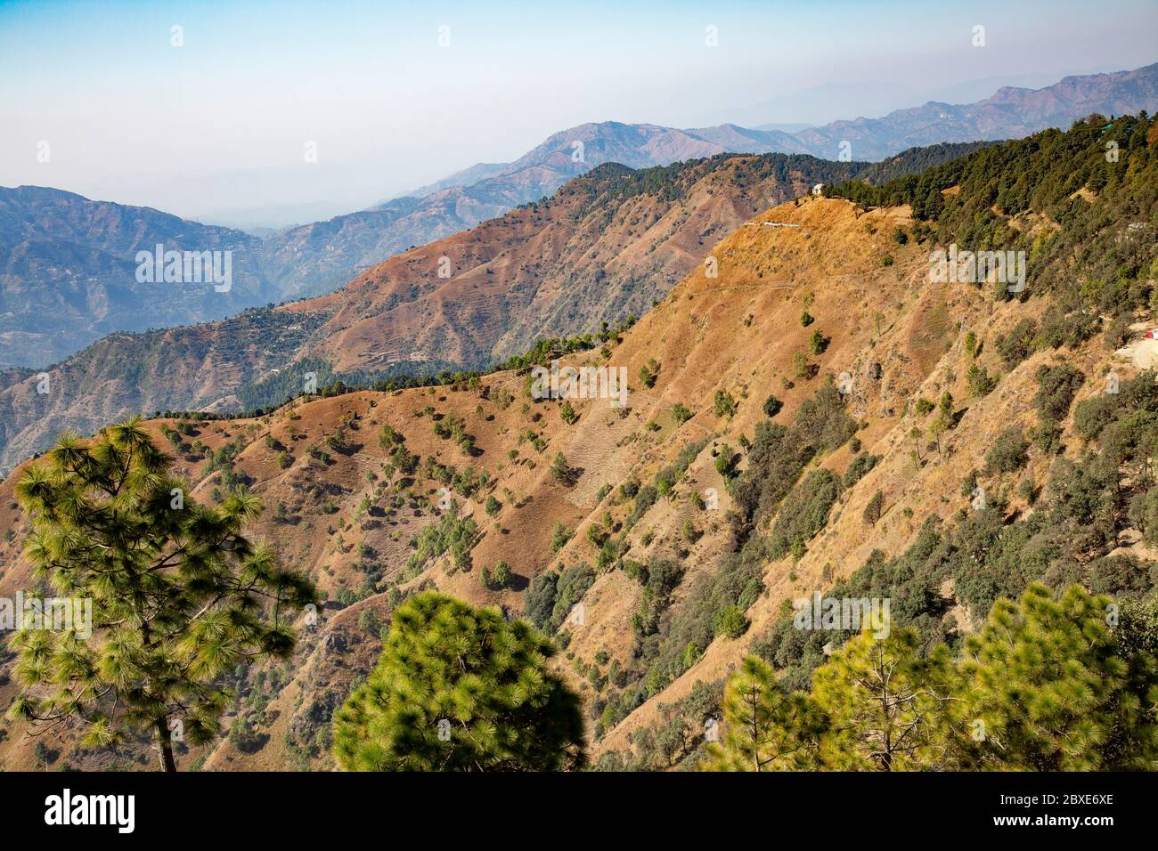 Mountain and valleys at Hill Station of Shimla,Himachal Pradesh,India Stock Photo