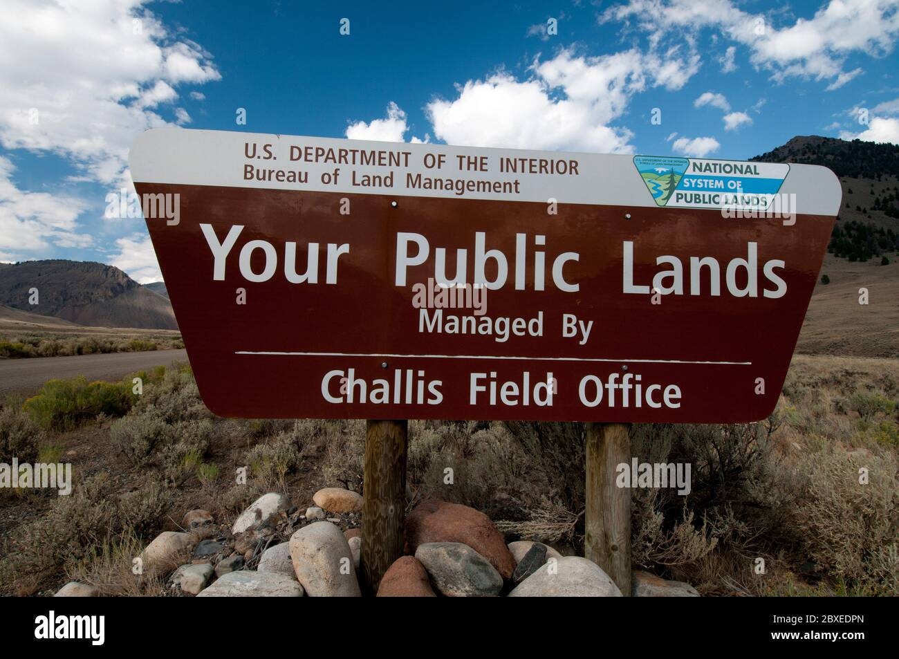 Bureau of Land Management public lands sign in Custer County near Copper Basin, ID Stock Photo