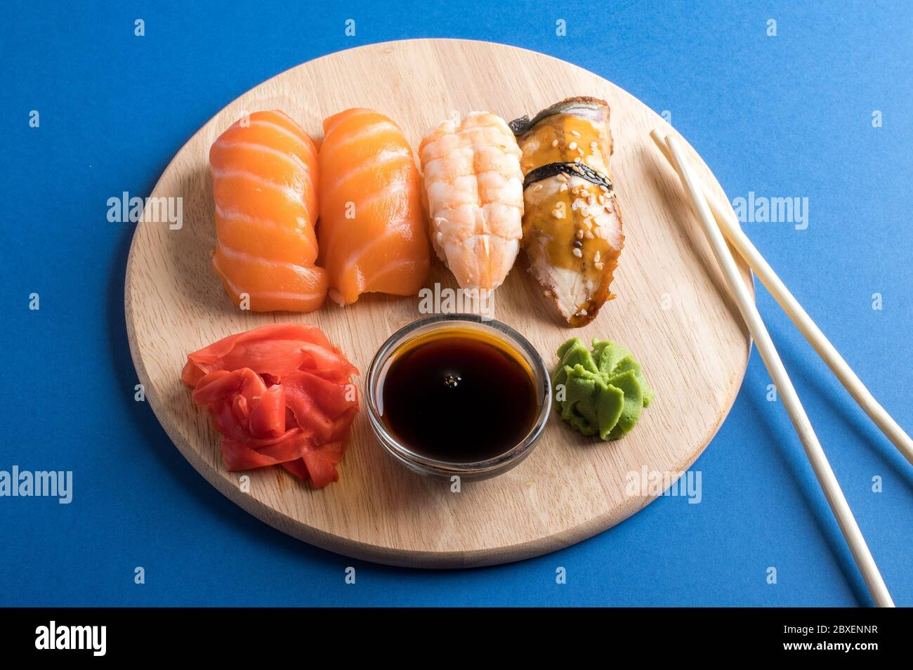 Close Up Of Sashimi Sushi Set Served On Wooden Plate Tasty Japanese Seafood Restaurant Concept Stock Photo Alamy