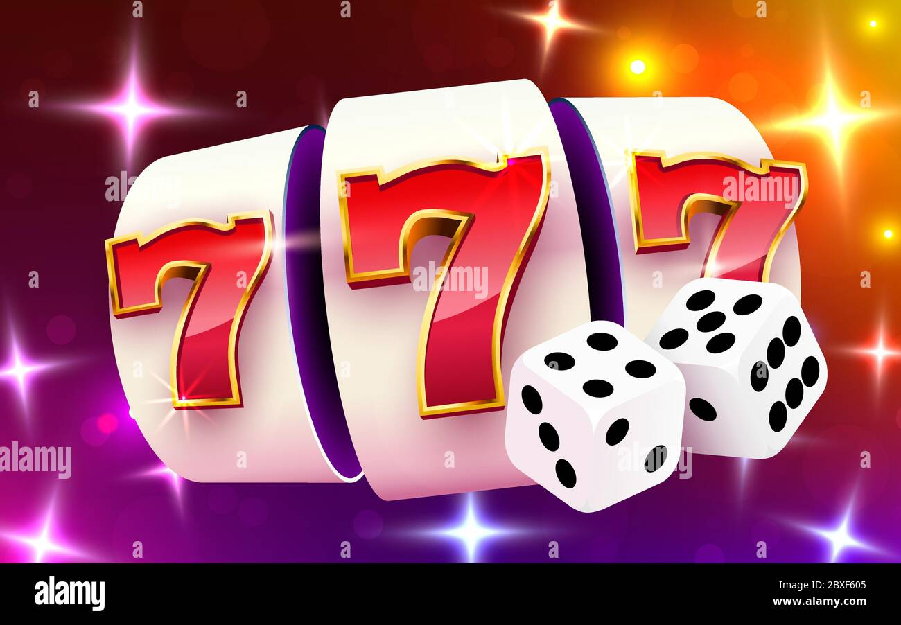 Slot Machine Wins The Jackpot Slots And Dice Casino Concept 777