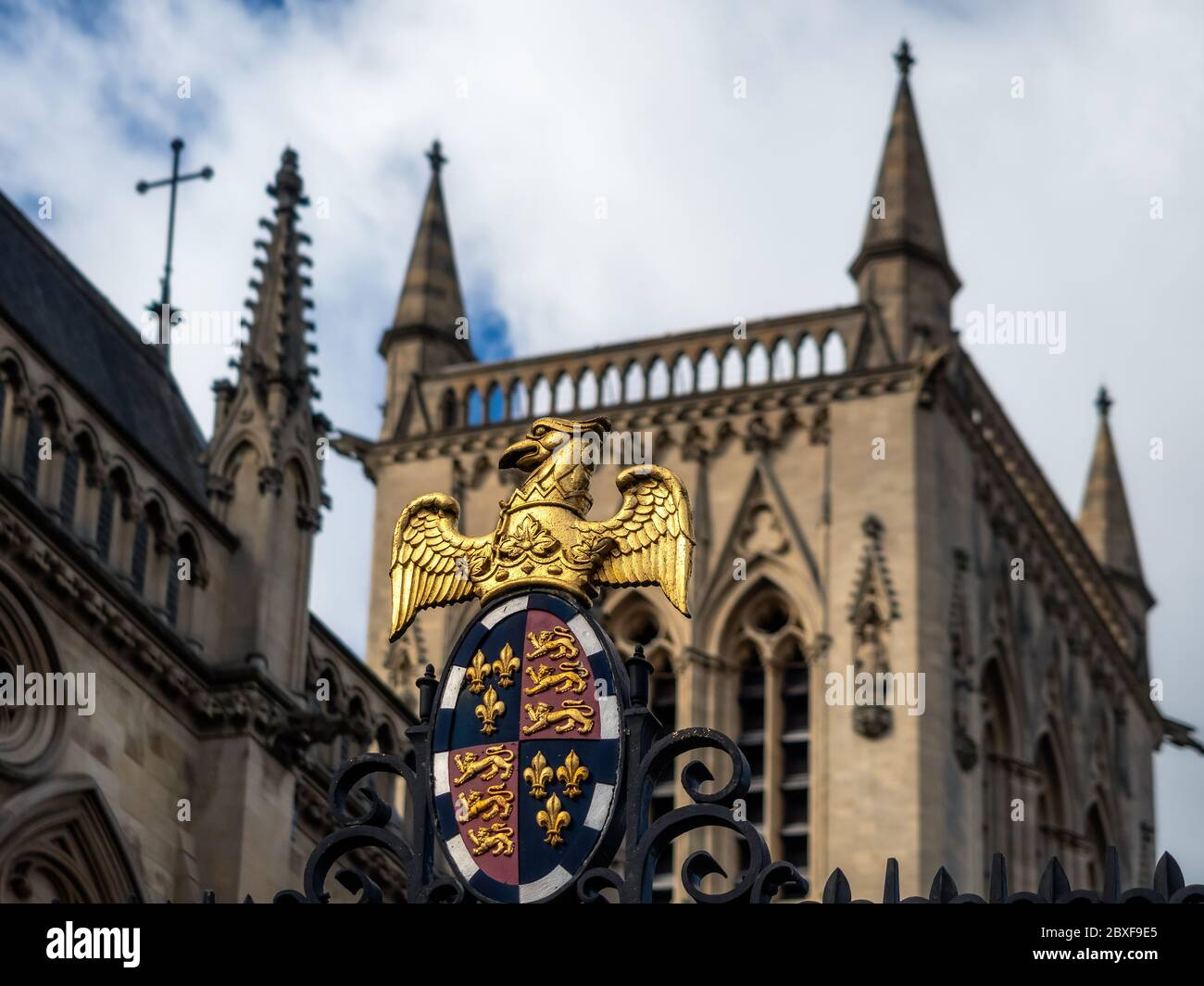 CAMBRIDGE, UK:  St John's Chapel seen from St Johns Street with College the Coat of Arms Stock Photo