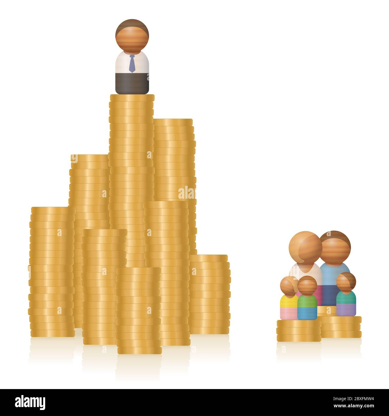 Rich man and poor family. Wealth of a single person on a big pile of money versus poverty of a family with money problems. Stock Photo