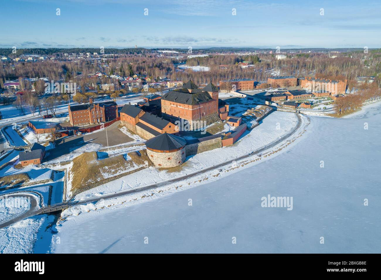 View of the old fortress Hameenlinna on a sunny March day (shooting from a quadrocopter). Hameenlinna, Finland Stock Photo