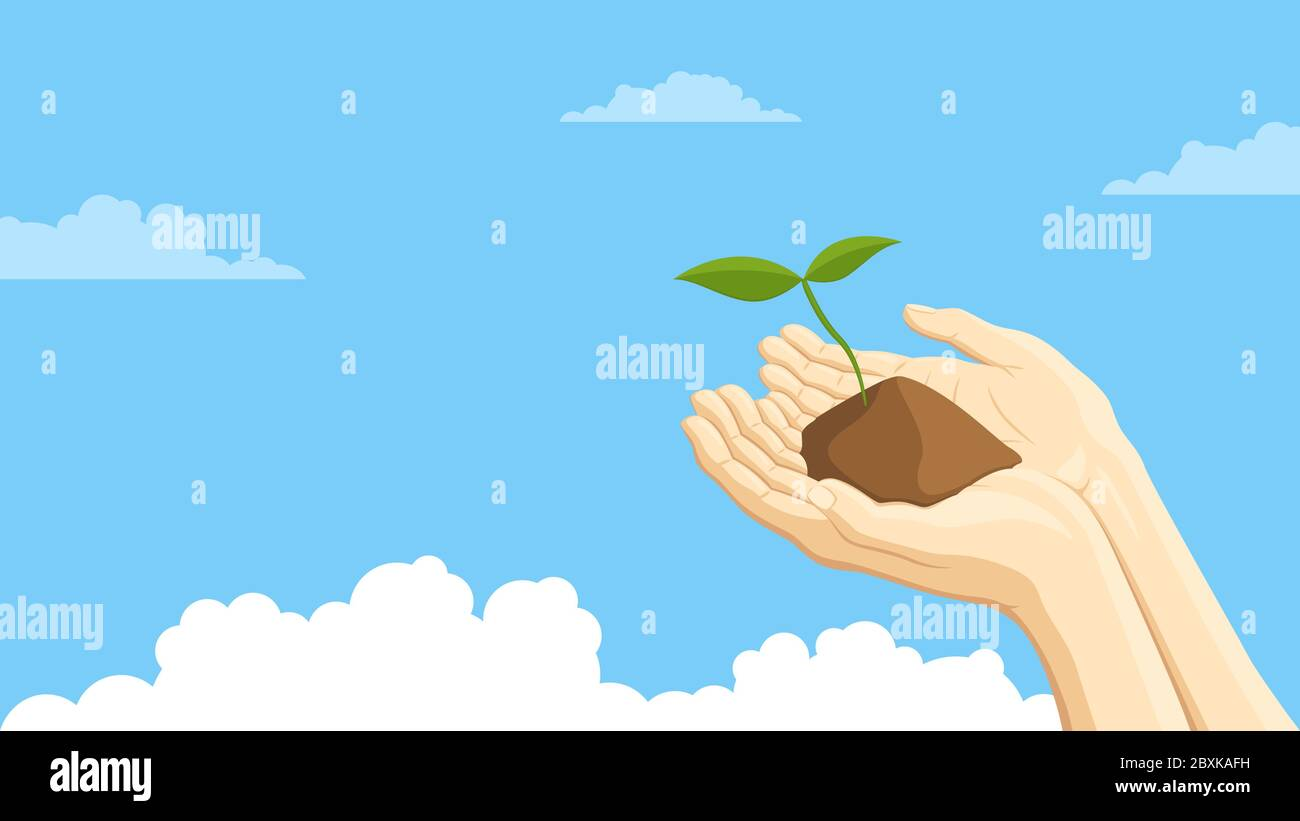Detailed flat vector illustration of two hands holding a sprout representing sustainability. Blue background with clouds. Stock Vector