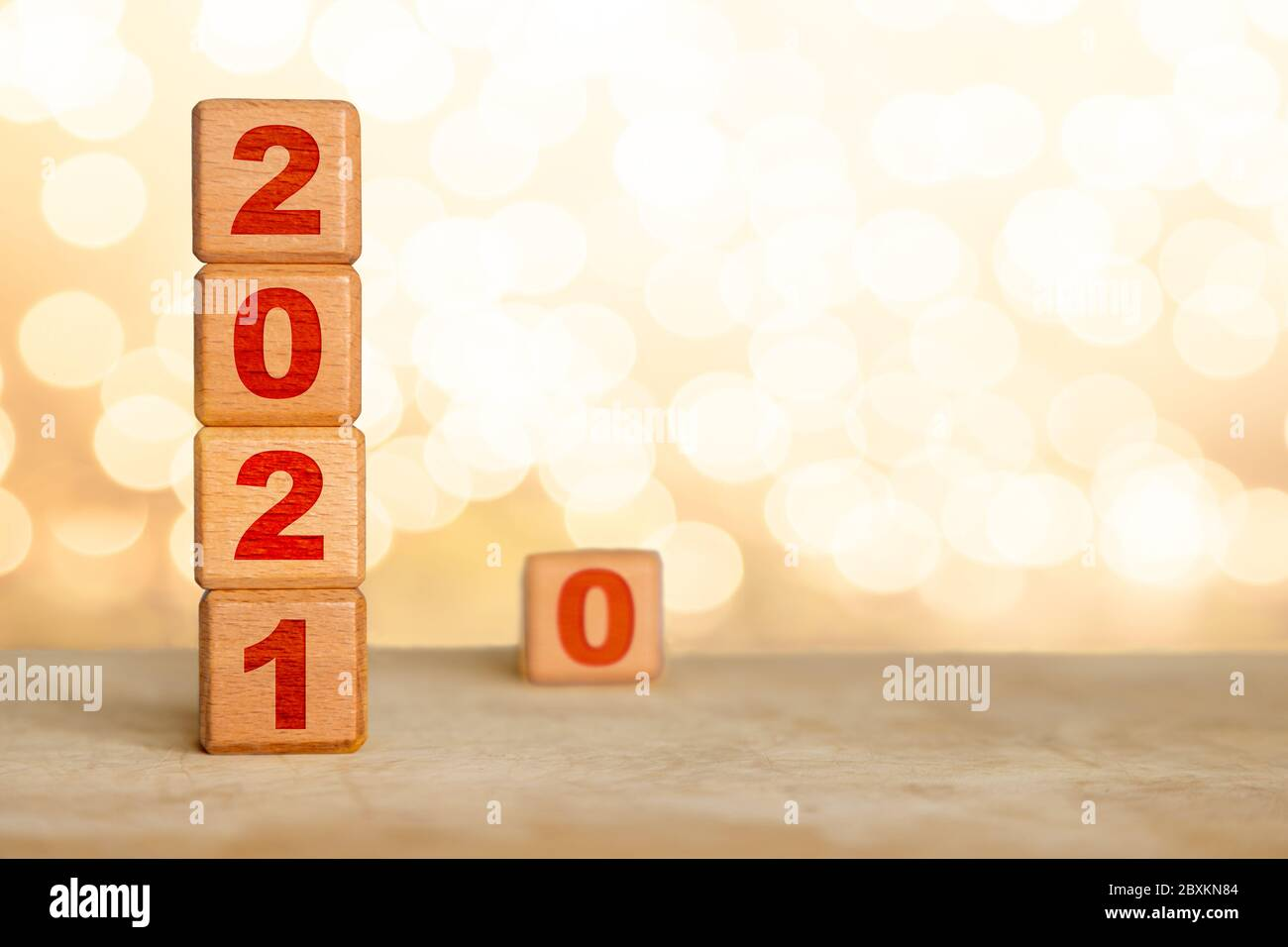 Forgotten Christmas 2020 Happy New Year 2021 with wood cube blocks and leaving the Year