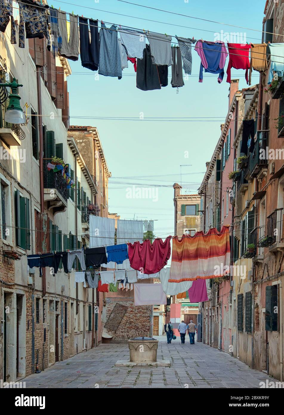 Clotheslines Venice Washing Line Laundry By Cityscape 12X16 Inch Framed Print