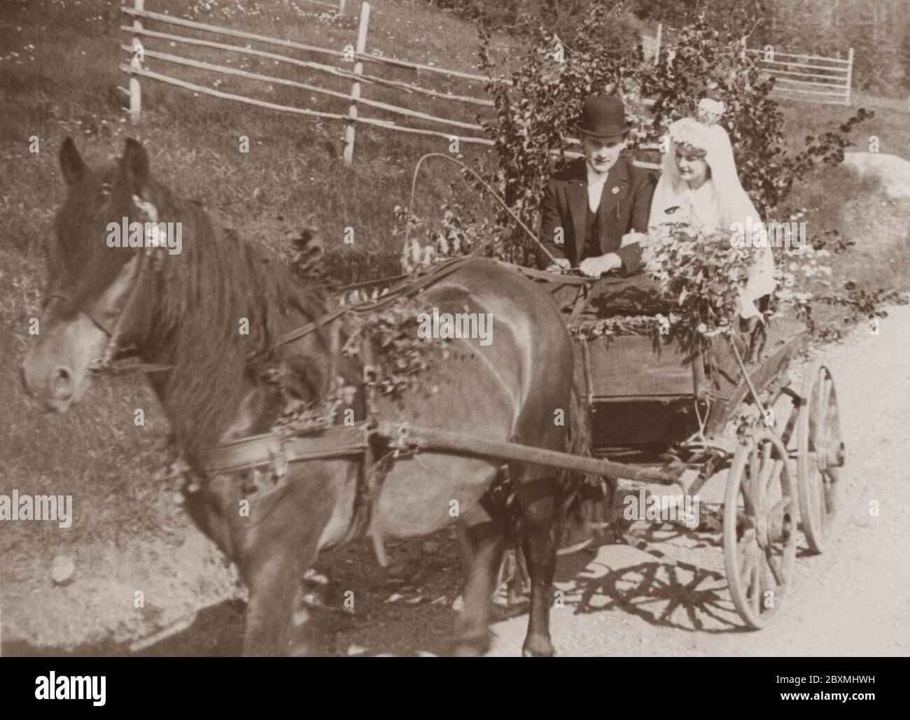 Wedding Couple In The 1930s The Newly Weds Bride And Groom Are Sitting In A Horse Drawn Wagon On A Summer Day The Wagon Is Decorated With Birch Branches And Flower Bouquets