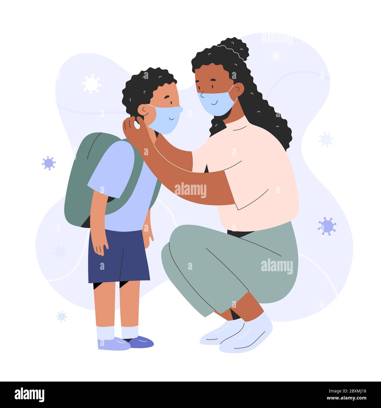 Mother putting on face mask on her child boy for protection against coronavirus infection, cartoon realistic characters, covid prevention, parent Stock Vector