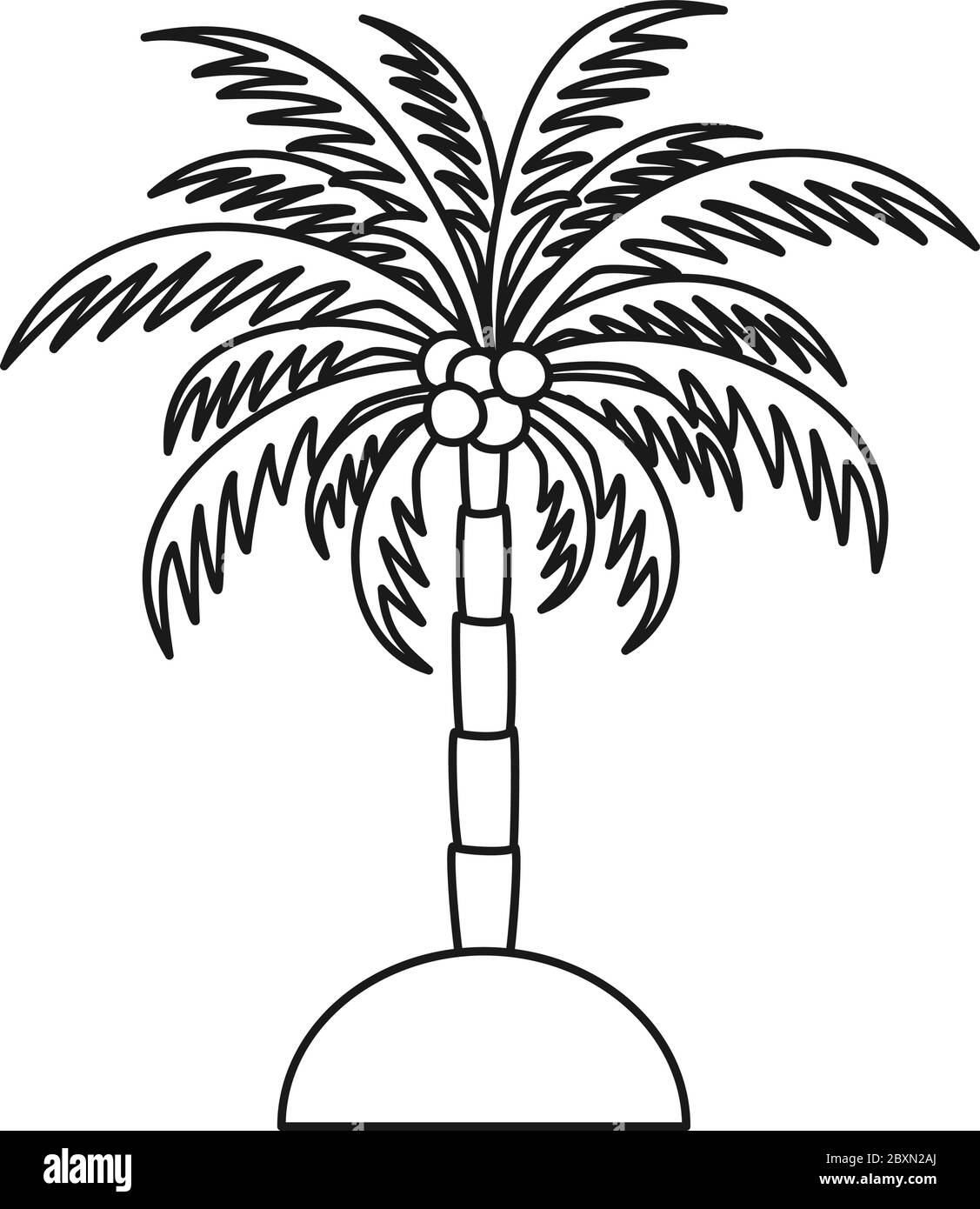 Line Art Black And White Palm Tree Stock Vector Image Art Alamy