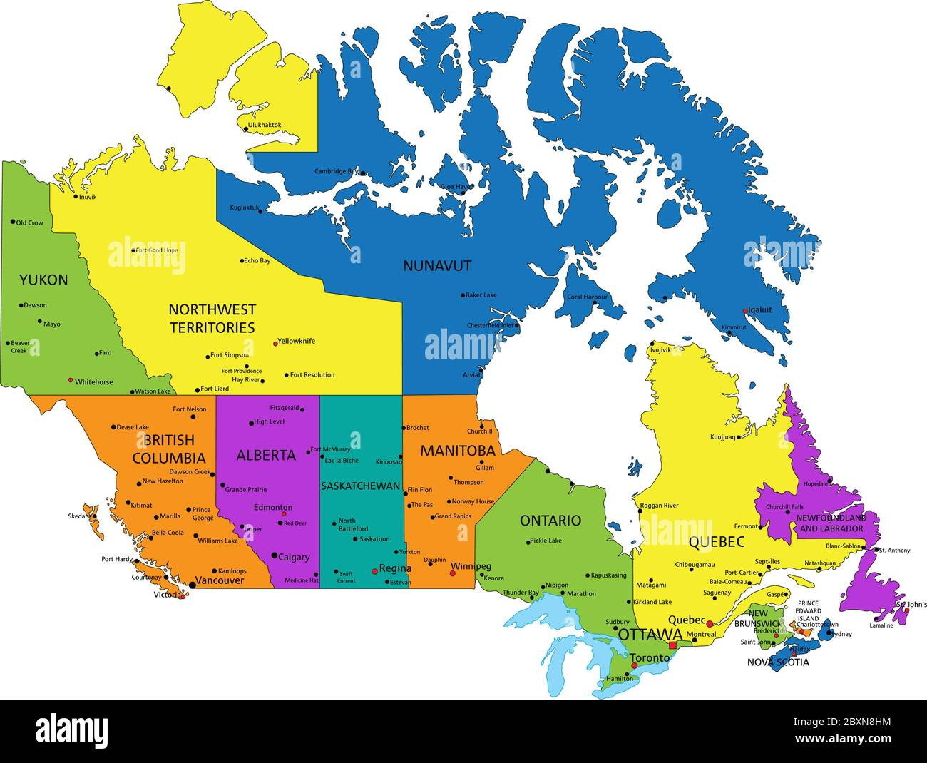 Labled Map Of Canada Canada Political Map High Resolution Stock Photography and Images