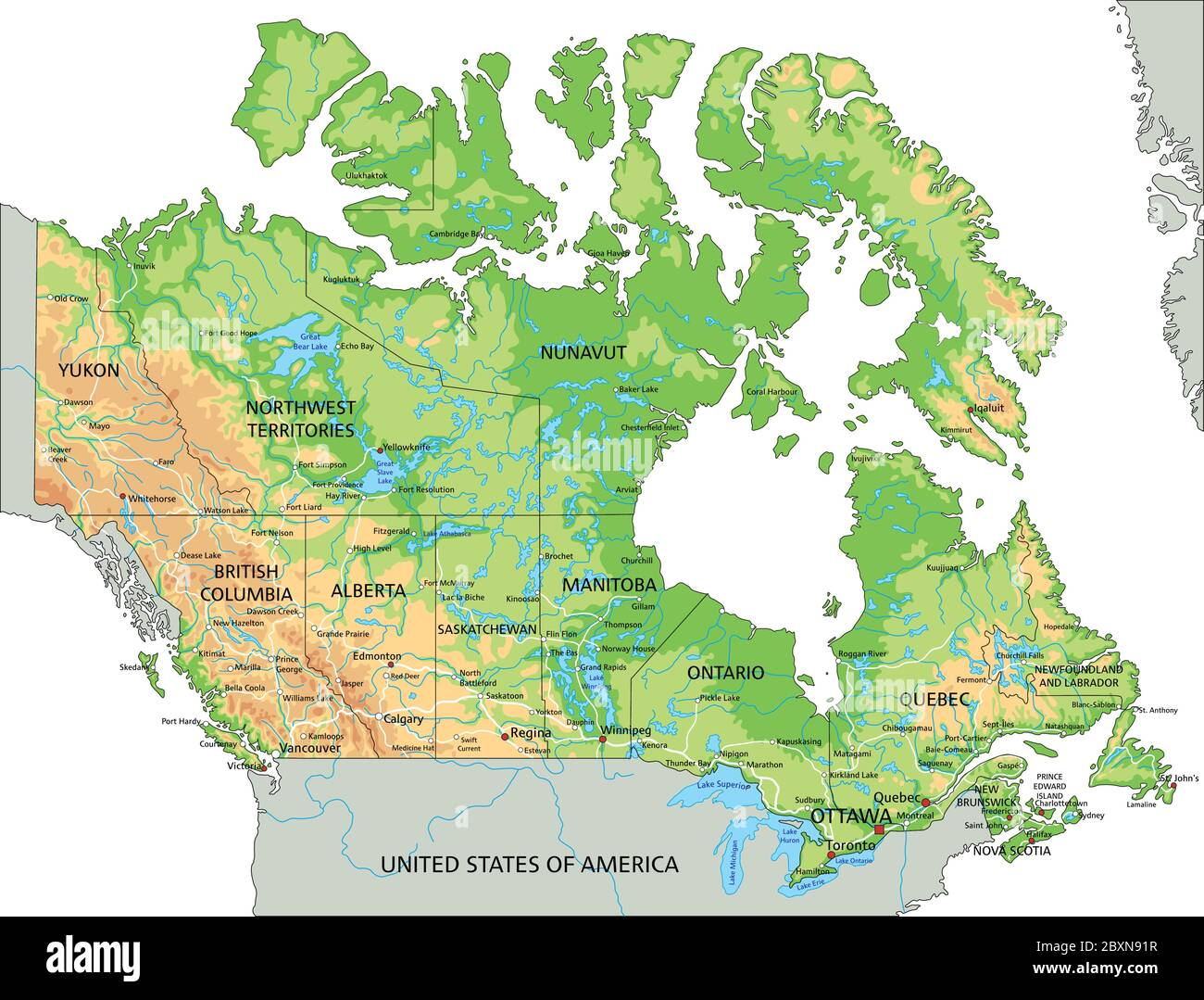 Labeled Physical Map Of Canada High detailed Canada physical map with labeling Stock Vector Image