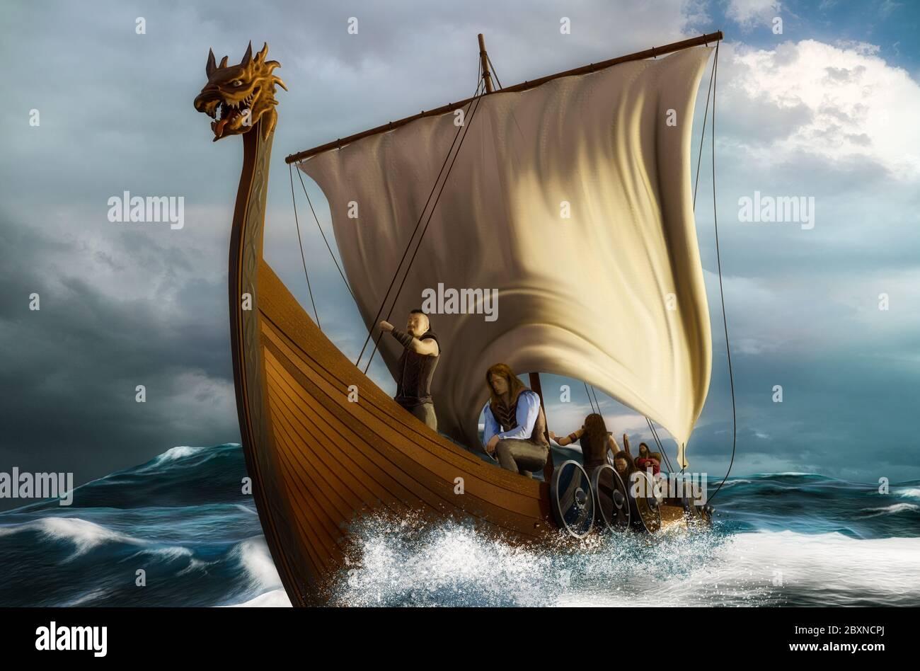 Viking ship on the open sea. Drakkar in the wavy ocean. 3D scene with digital painting. Stock Photo