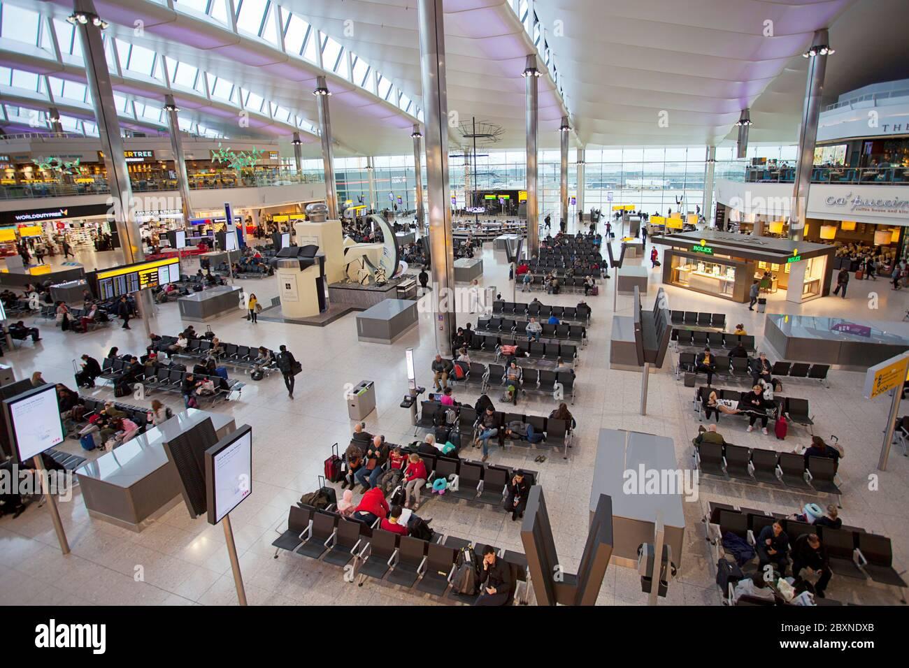 Inside London Heathrow Airport departures terminal, London, UK Stock Photo