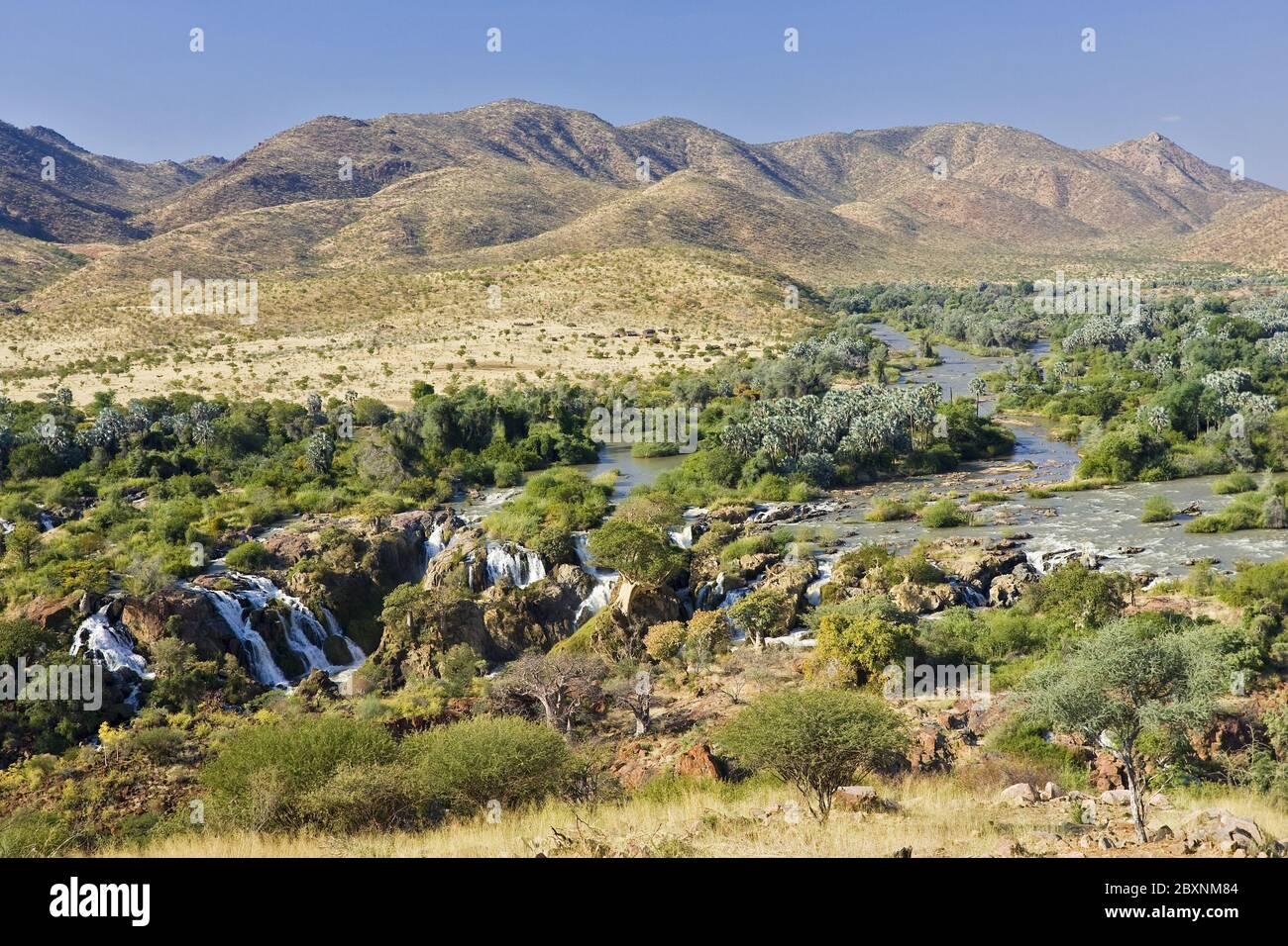 Kunene River, Kaokoveld, Namibia, Afrika, Epupa Falls, Africa Stock Photo