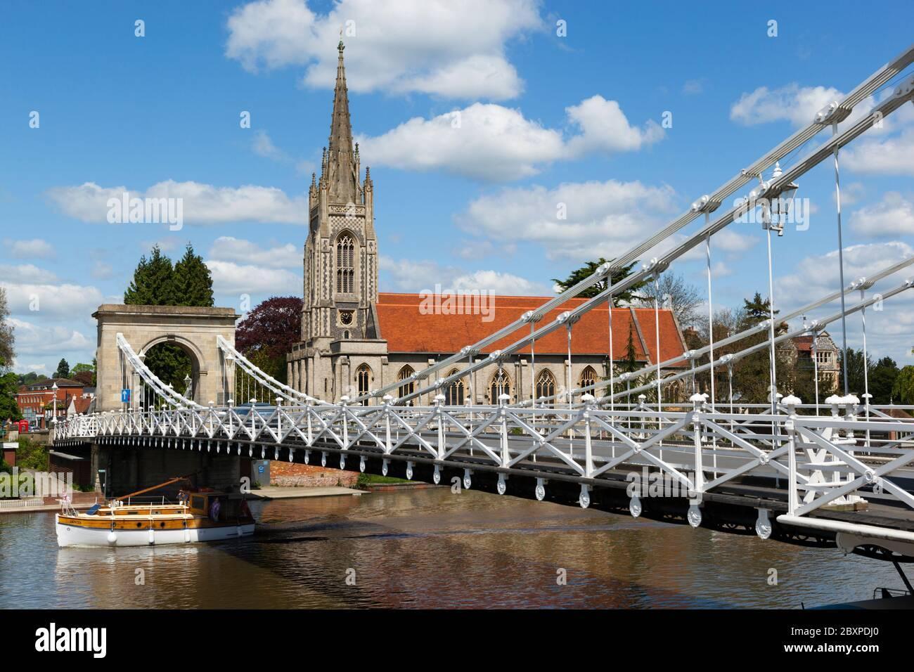 All Saints Church and suspension bridge, Marlow, Buckinghamshire, England, United Kingdom, Europe Stock Photo