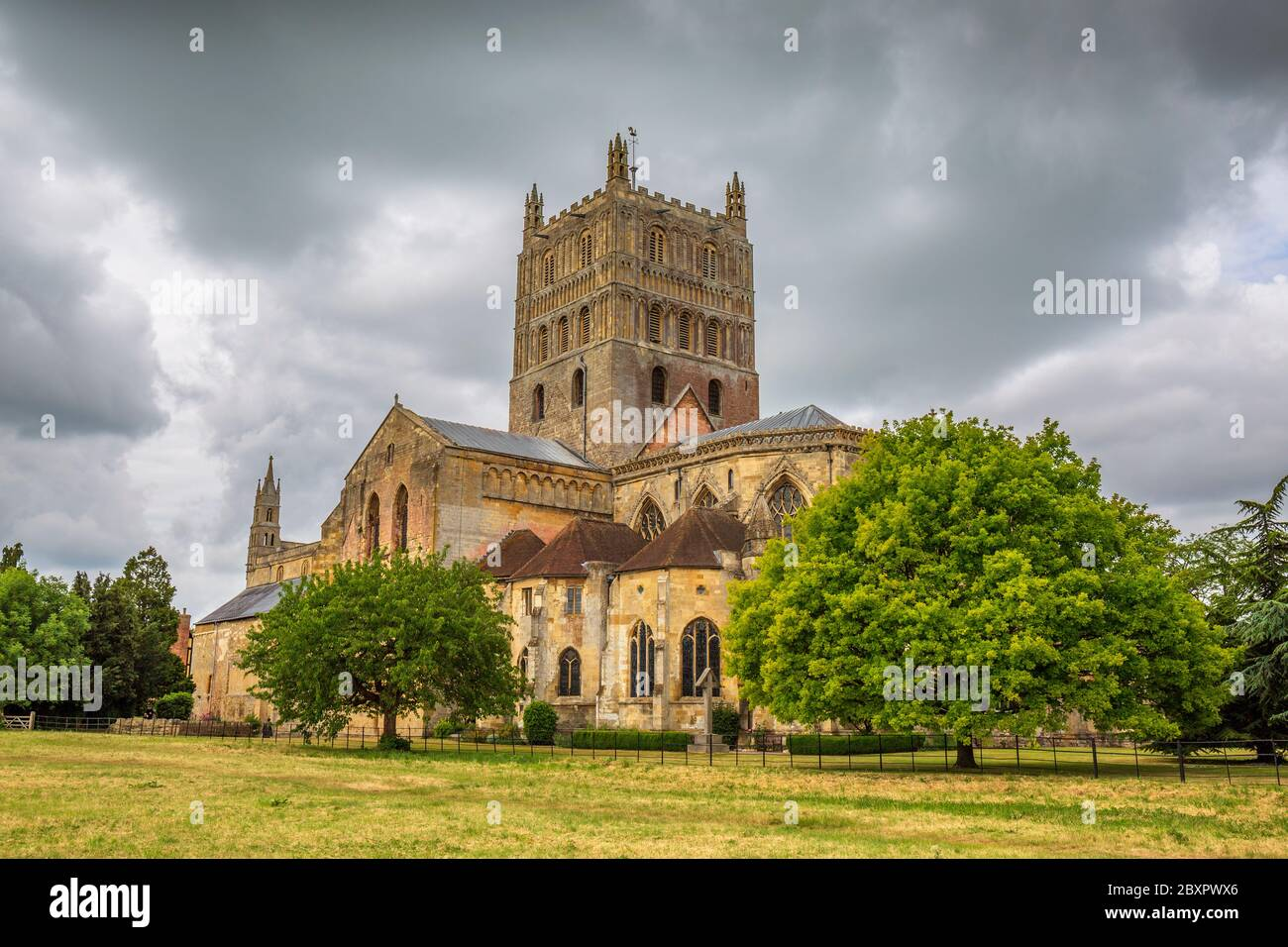 A west view of Tewkesbury Abbey Church in Gloucestershire, England Stock Photo