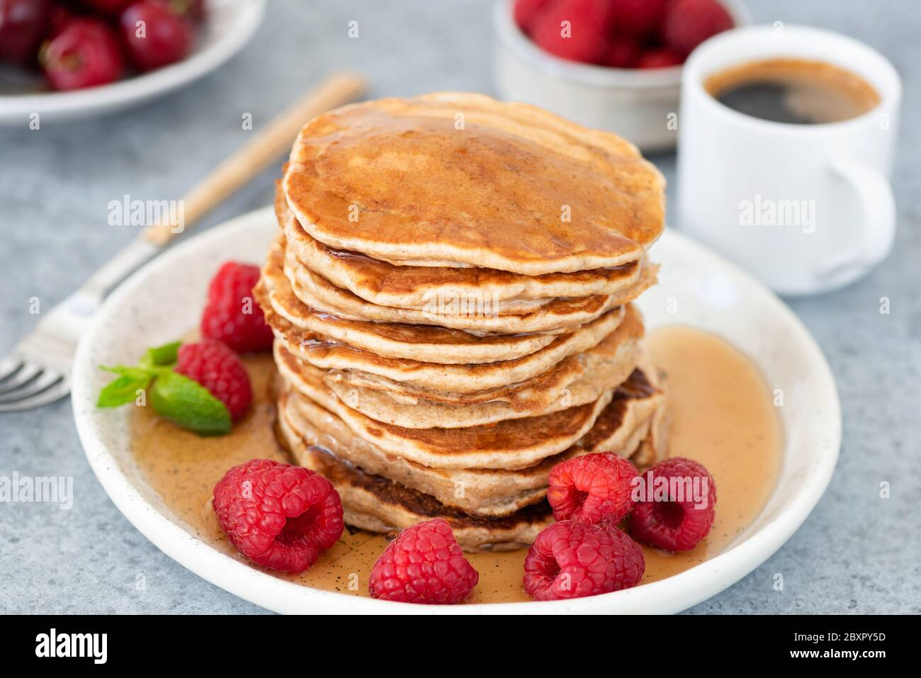 Pancakes With Syrup And Raspberries On Plate Cup Of Espresso Coffee On Background Tasty Sweet Breakfast Food Stock Photo Alamy