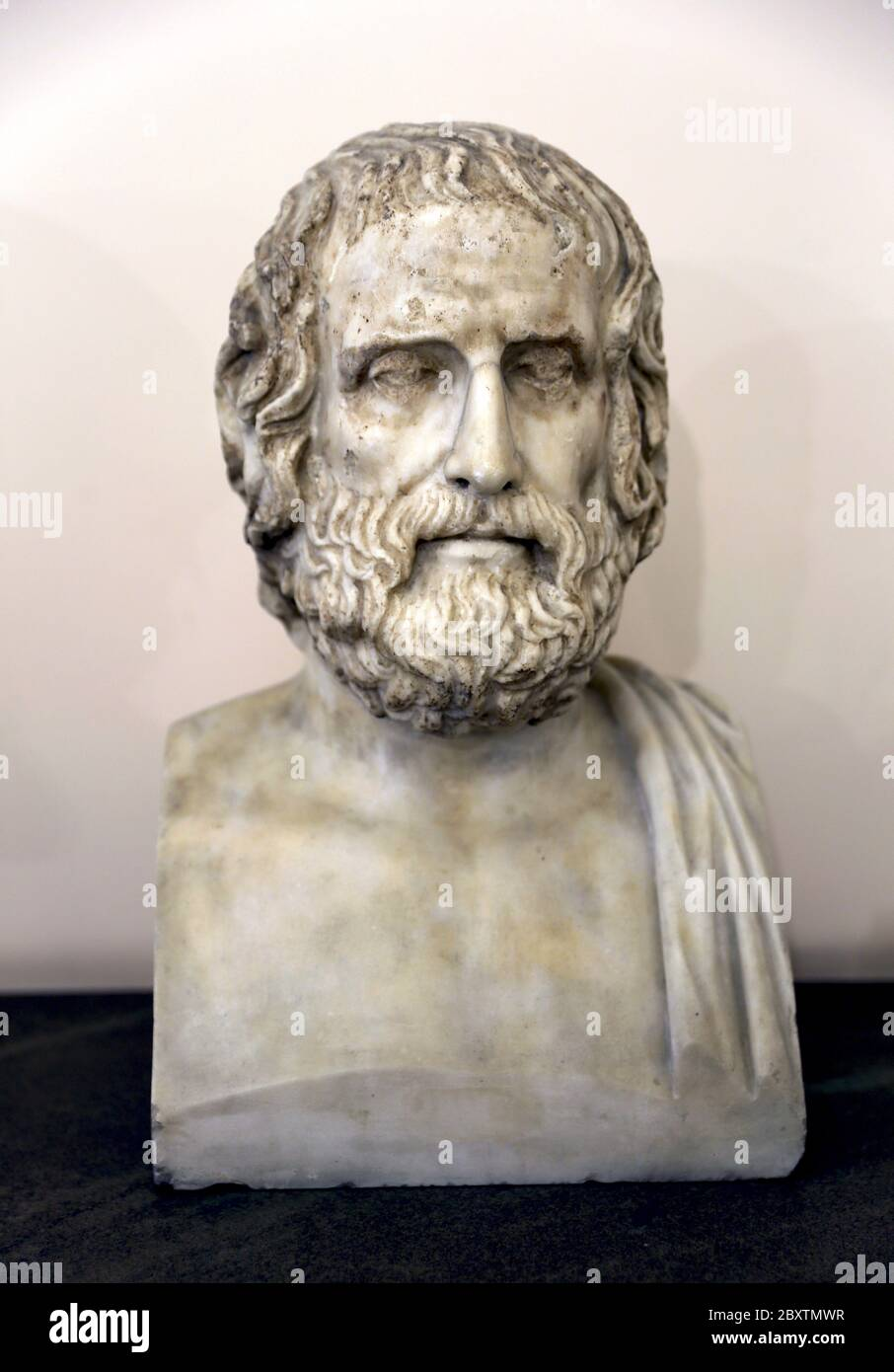 The tragic poet Euripides (c. 484 - 406 BC). Roman bust, 1st or 2nd cent AD. Copy of a Greek original. Naples Archaeological Museum. Italy. Stock Photo
