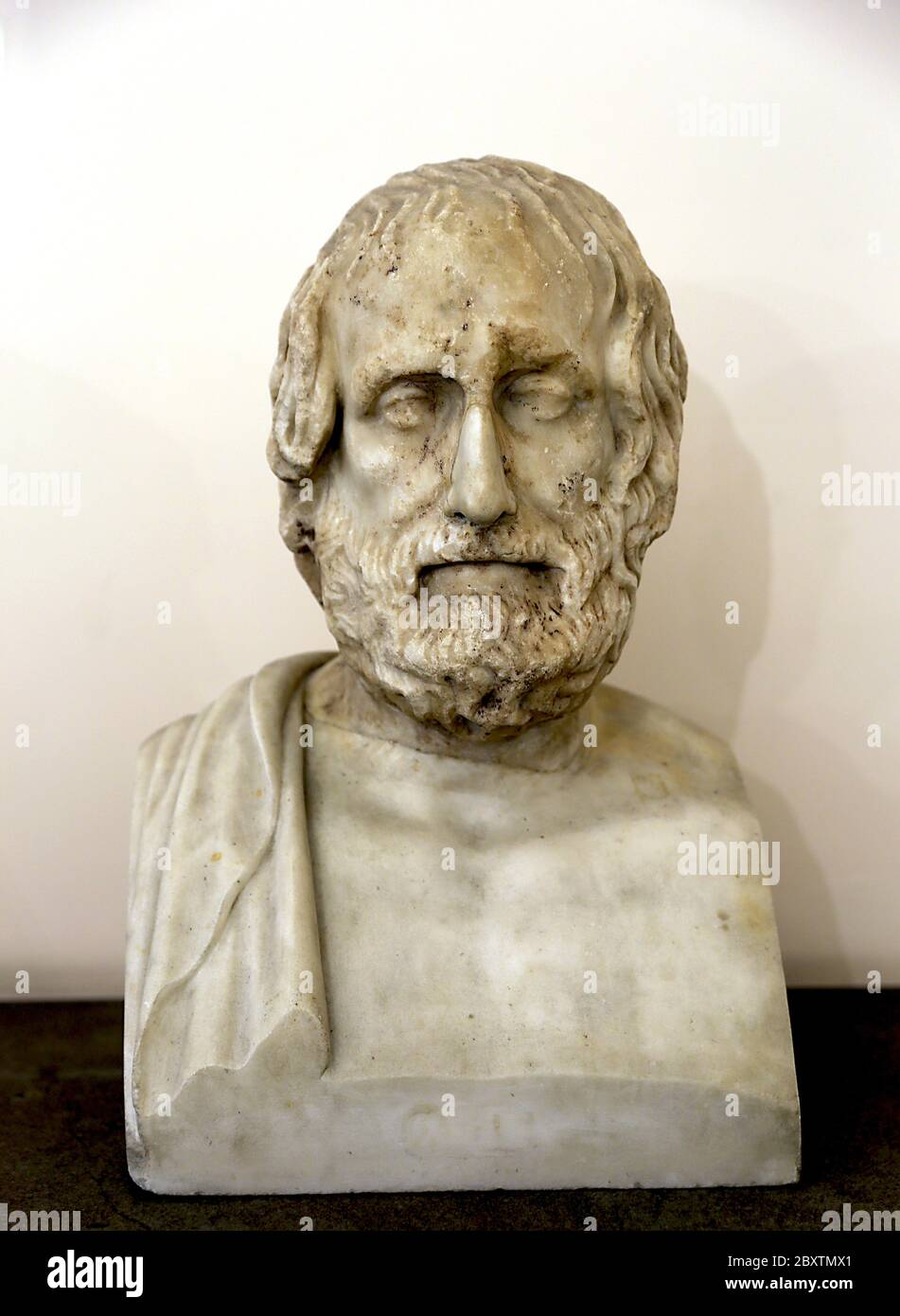 The tragic poet Euripides (c. 484 - 406 BC). Roman bust, 1st cent AD. Copy of a Greek original. Naples Archaeological Museum. Italy. Stock Photo
